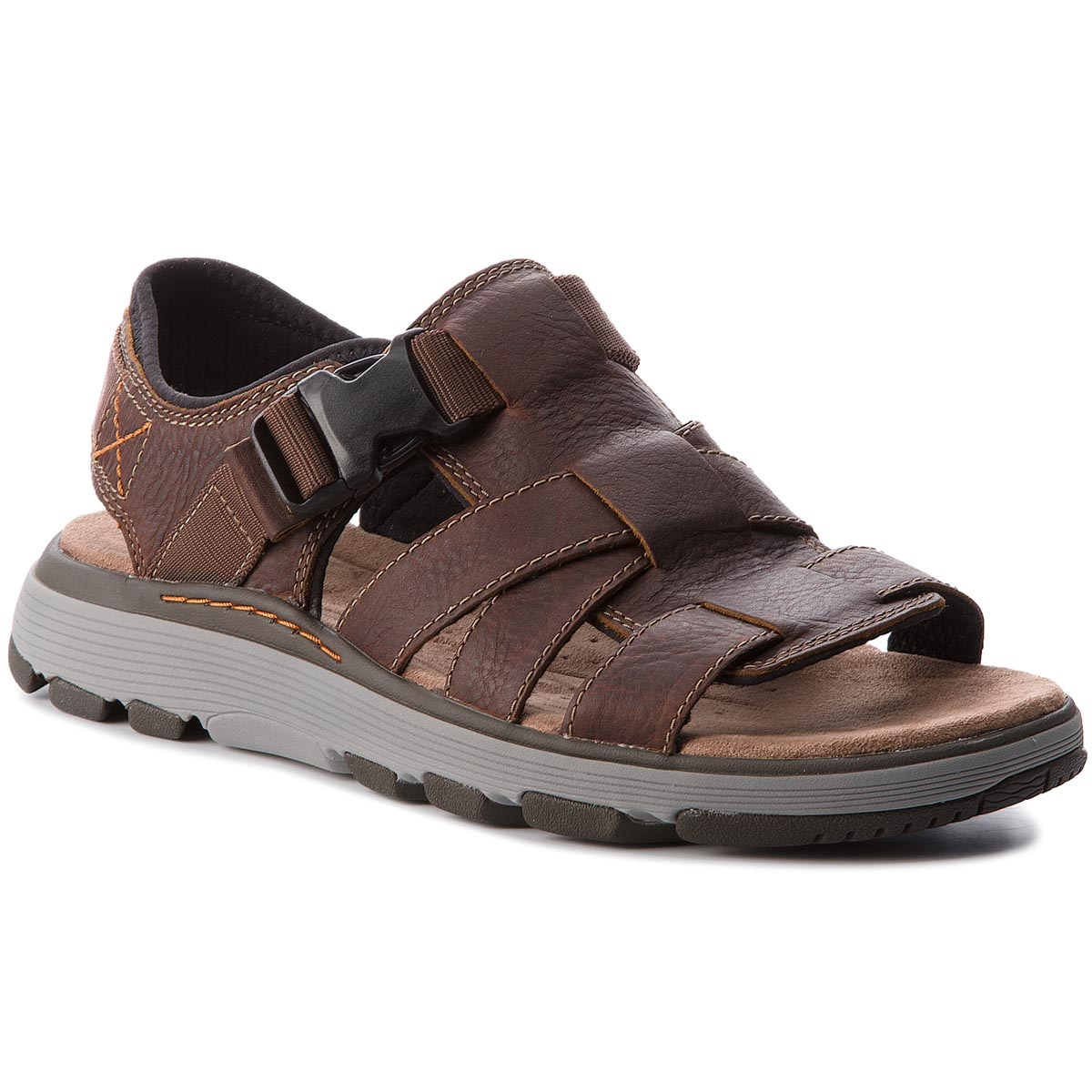 Sandale CLARKS - Un Trek Cove 261326207 Dark Tan Leather