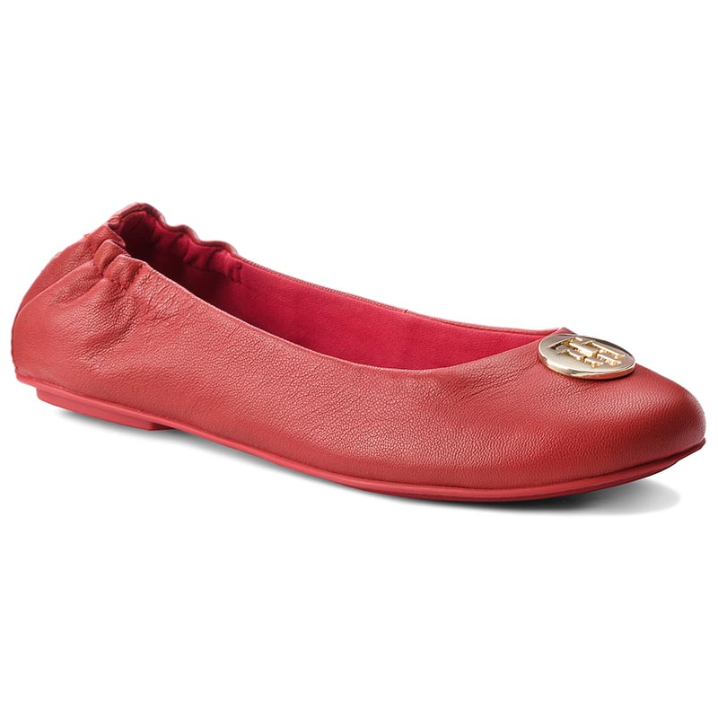 Balerini TOMMY HILFIGER - Flexible Ballerina Leather FW0FW03401 Tommy Red 645