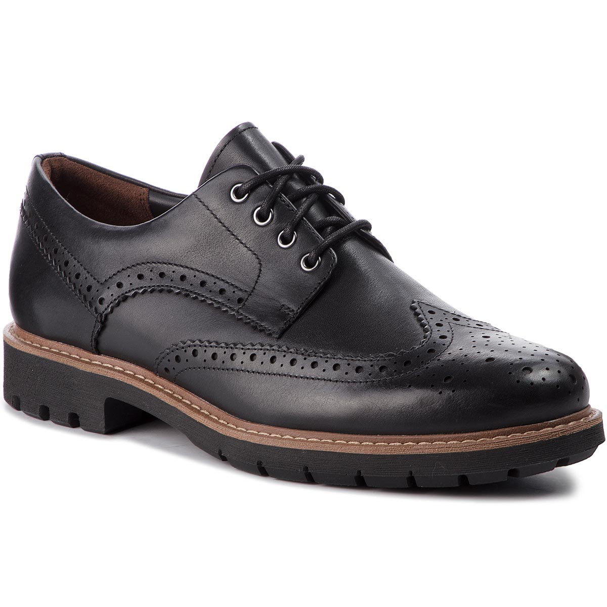 Pantofi CLARKS - Batcombe Wing 261271927 Black Leather