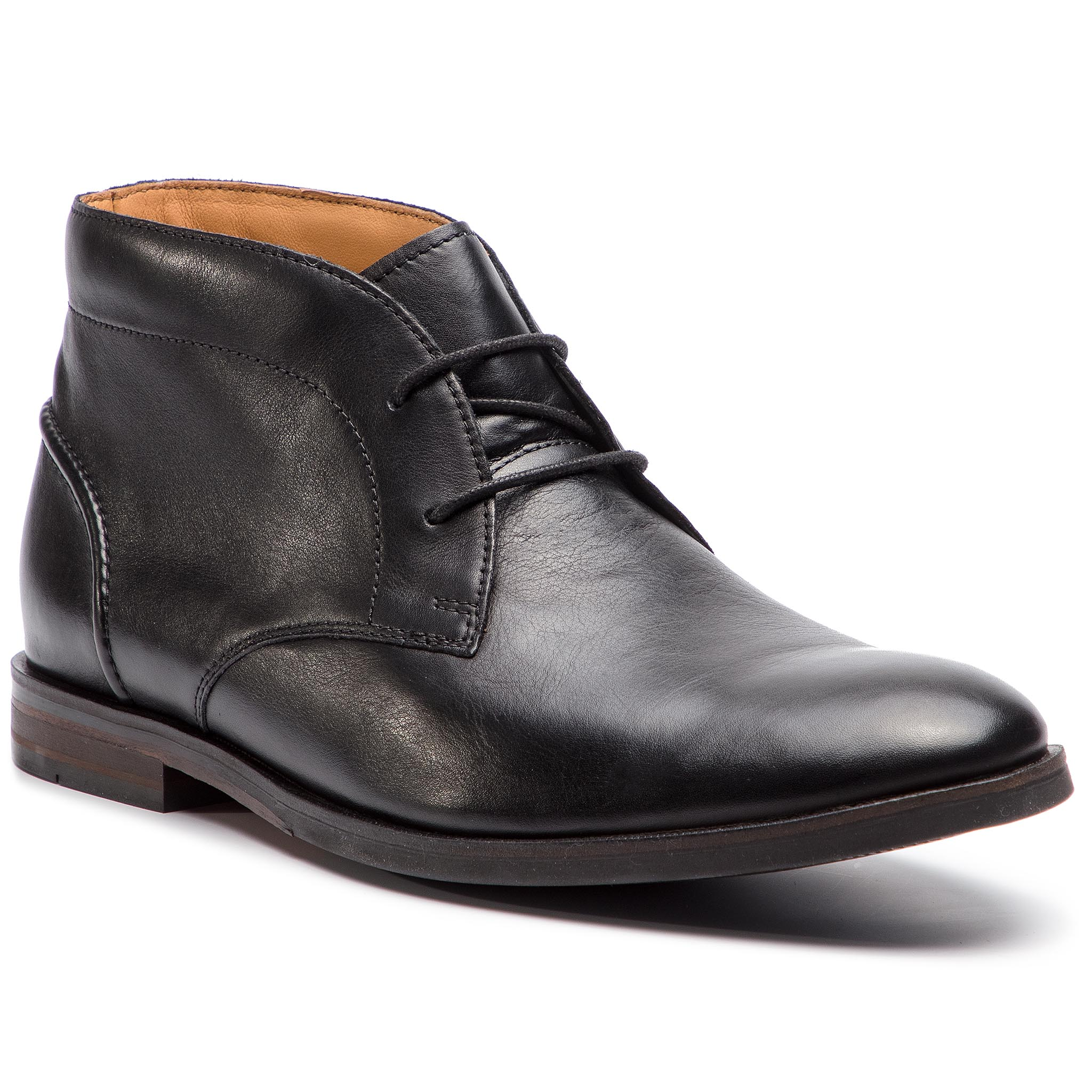 Ghete CLARKS - Glide Chukka 261354307 Black Leather