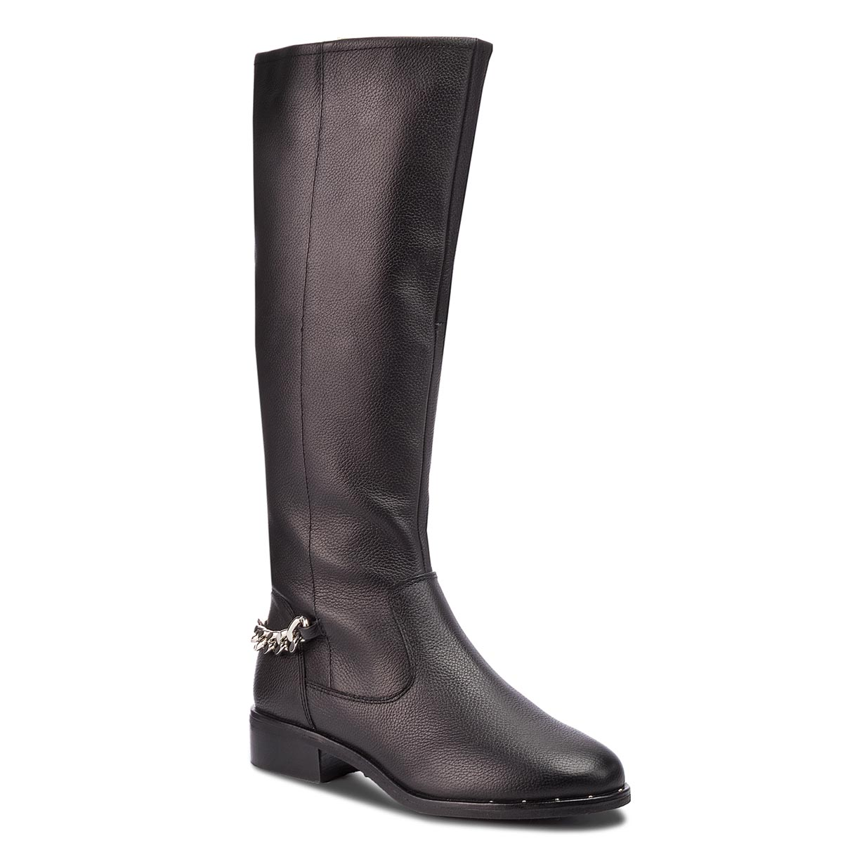 Cizme lungi riding STEVE MADDEN - Rain Boot SM11000180-03001-017 Black Leather