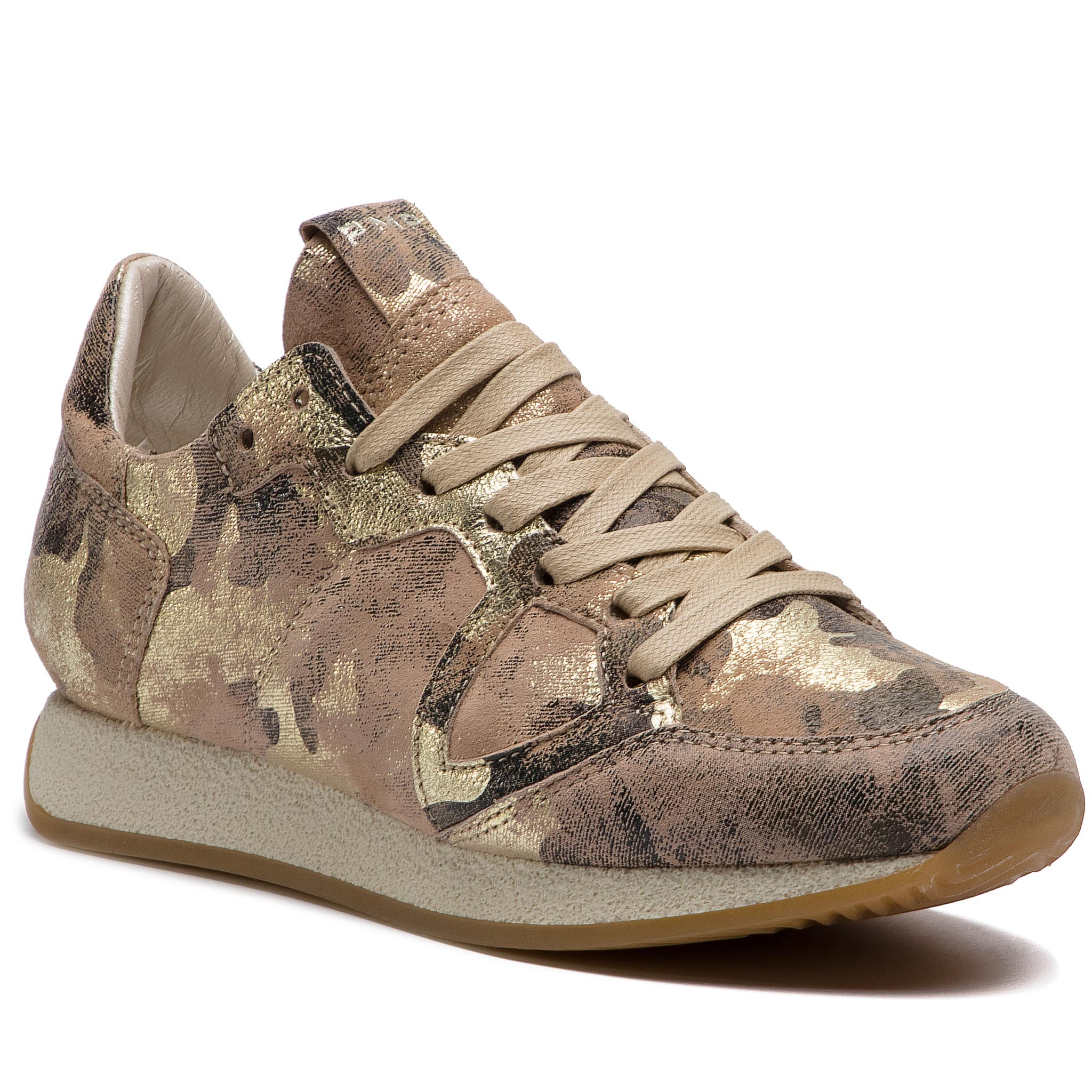 Sneakers PHILIPPE MODEL - Monaco MNLD CM02 Camouflage Metal Beige Or