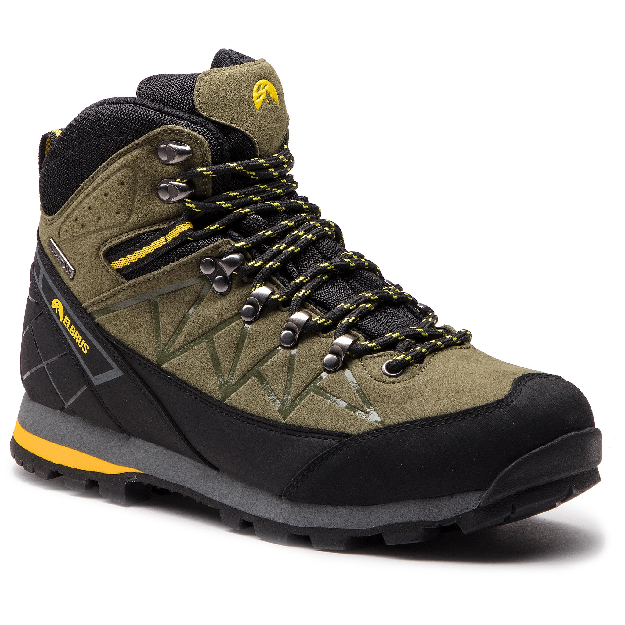 Trekkings Elbrus - Muerto Mid Wp Light Khaki/Black/Yellow imagine epantofi.ro 2021