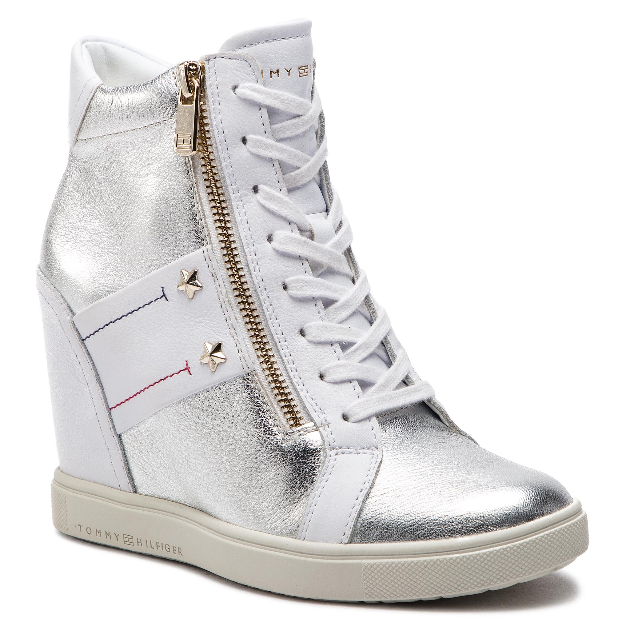 Sneakers TOMMY HILFIGER - Wedge Sneaker FW0FW03687 White 100
