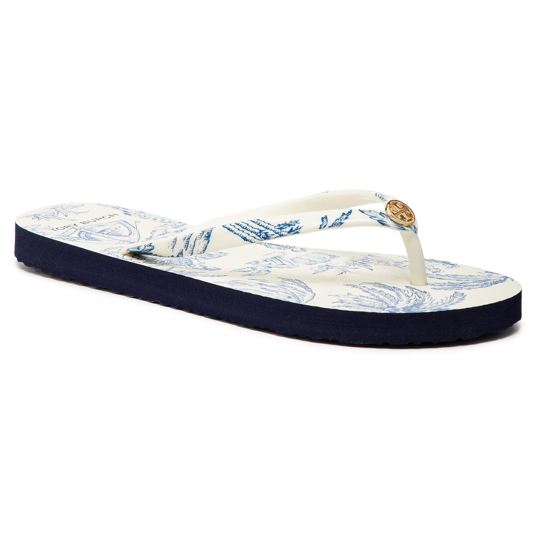 Flip flop TORY BURCH - Printed Thin Flip Flop 56487 Ivory Far And Away 415