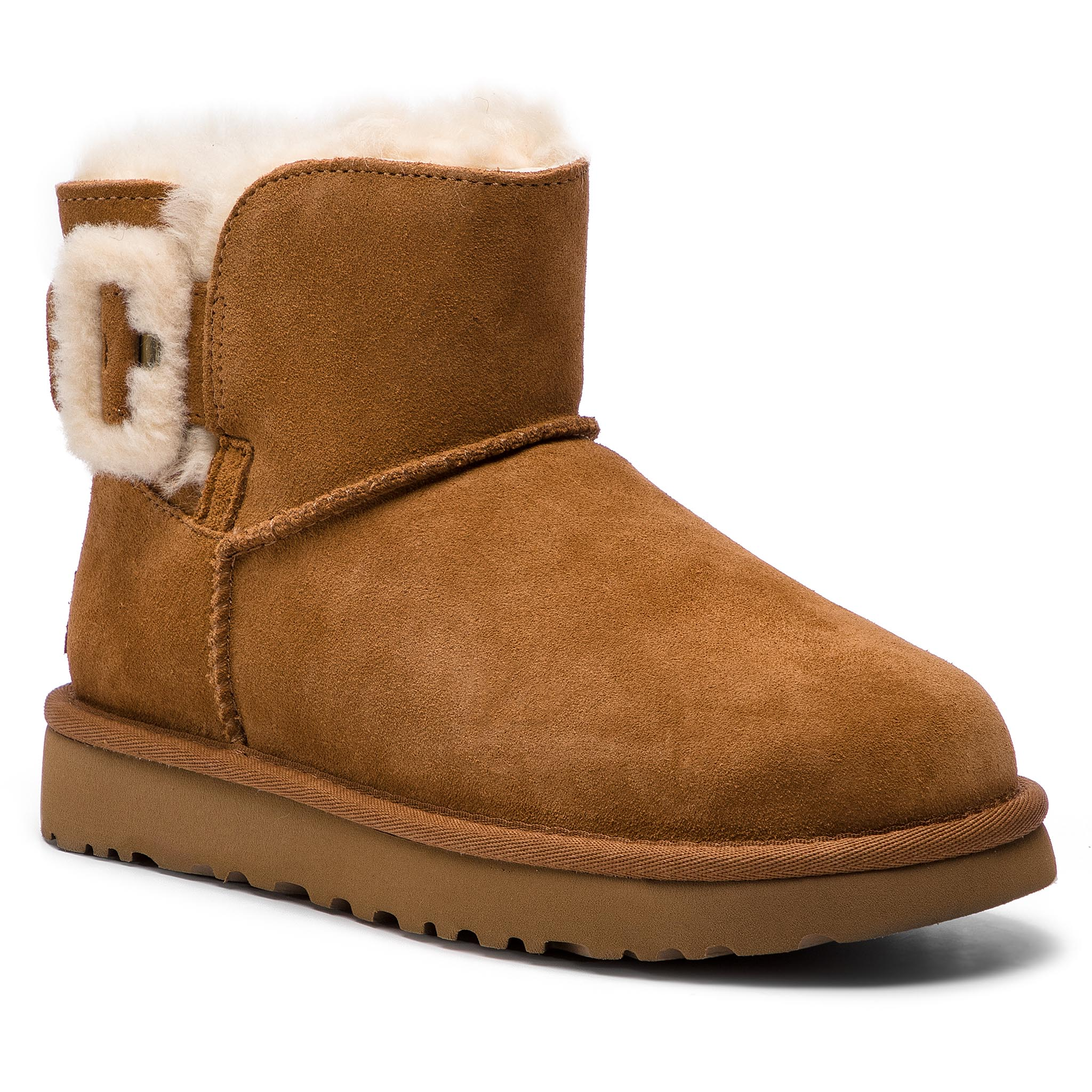 Pantofi UGG - W Mini Bailey Fluff Buckle 1104182 W/Che