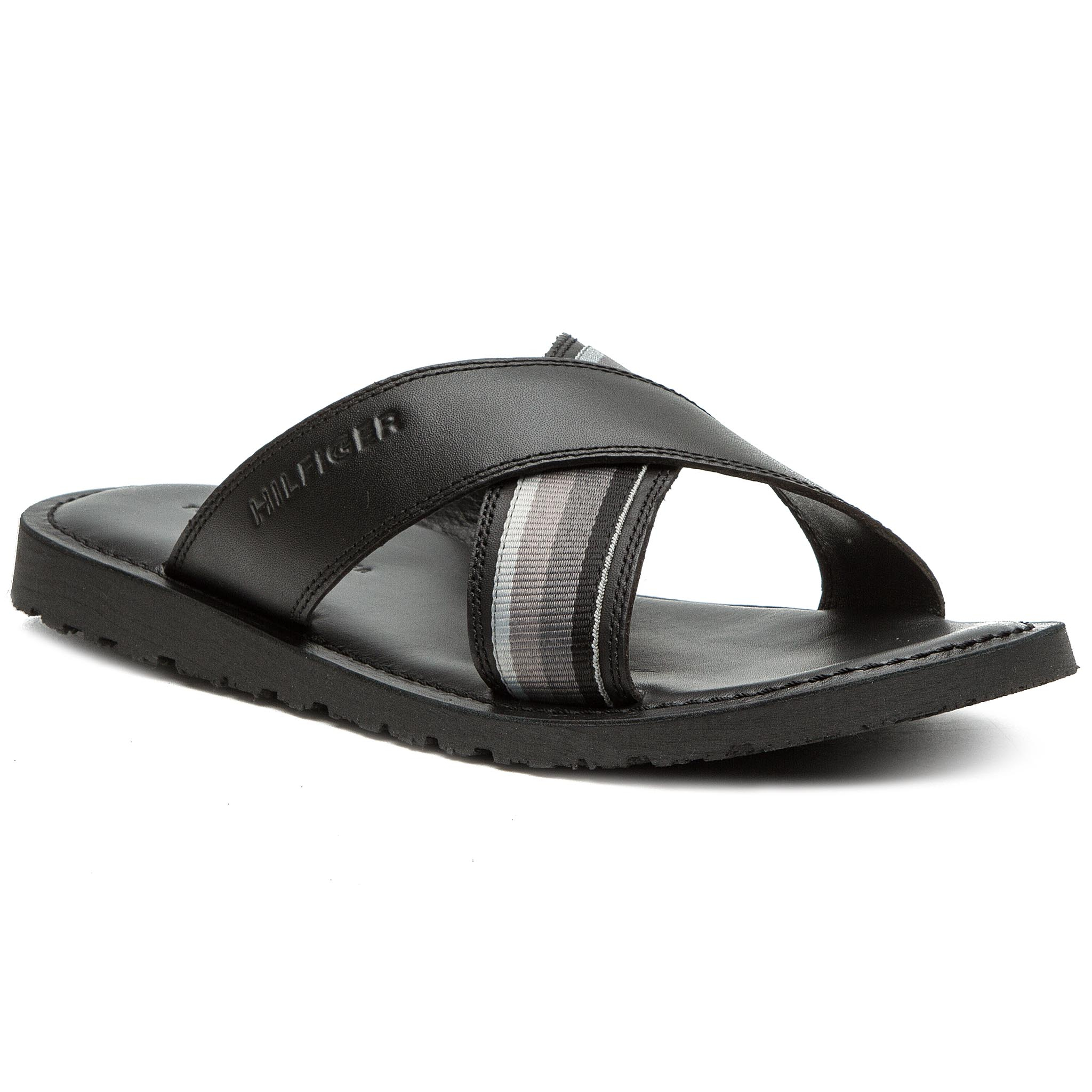 Șlapi TOMMY HILFIGER - Criss Cross Leather Sandal FM0FM02120 Black 990