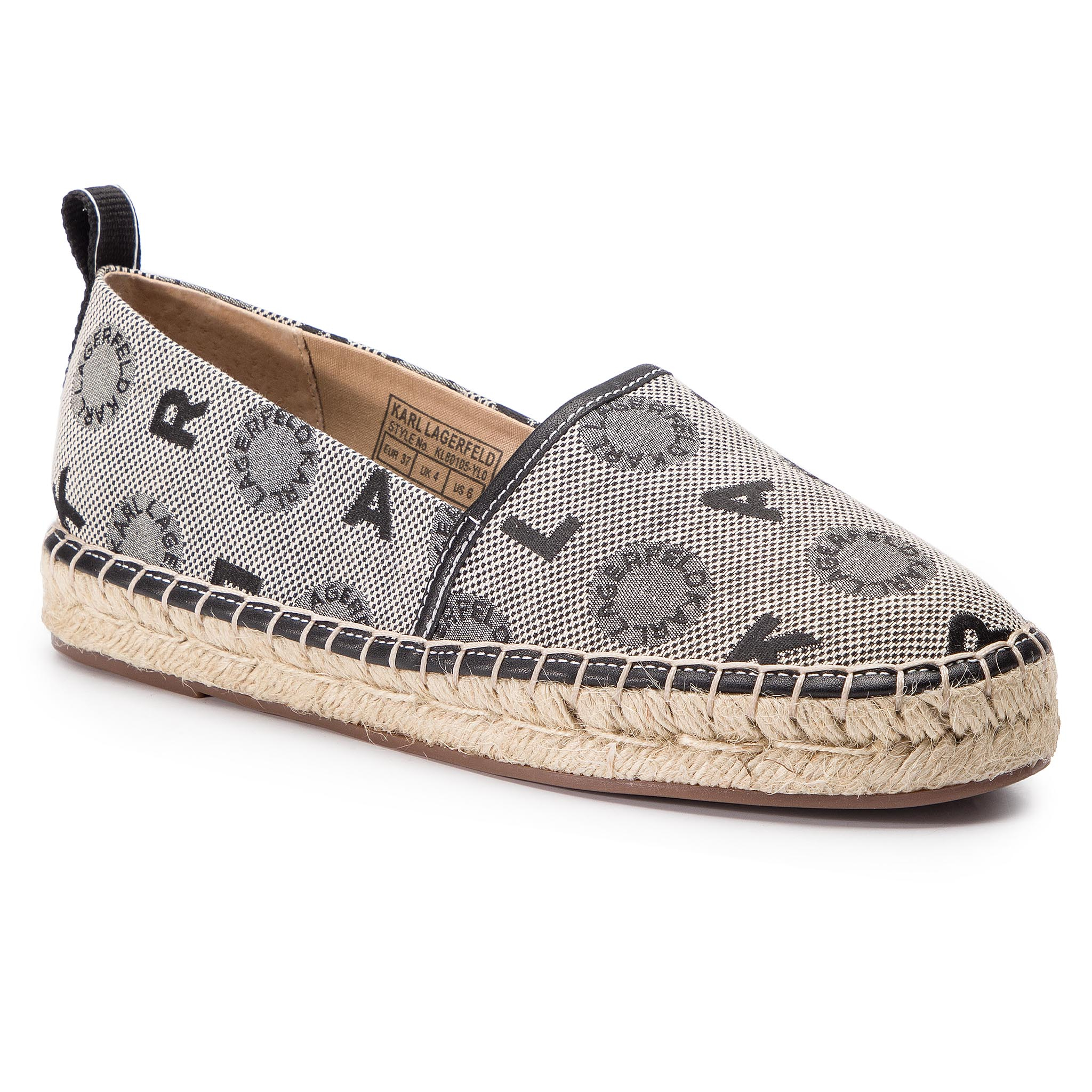 Espadrile KARL LAGERFELD - KL80105 Light Grey Waeave W/Black