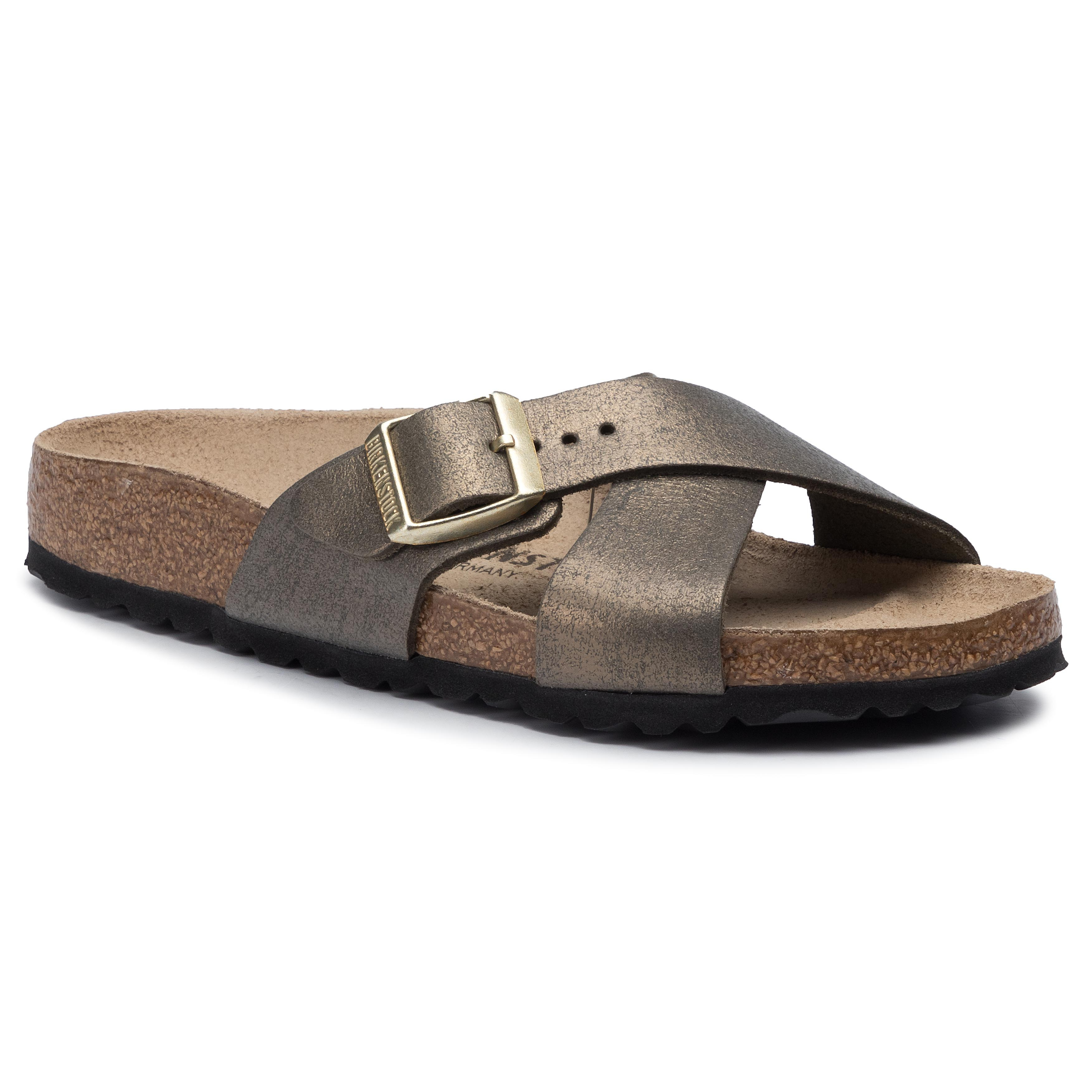 Șlapi BIRKENSTOCK - Siena 1014381 Washed Metallic Stone Gold