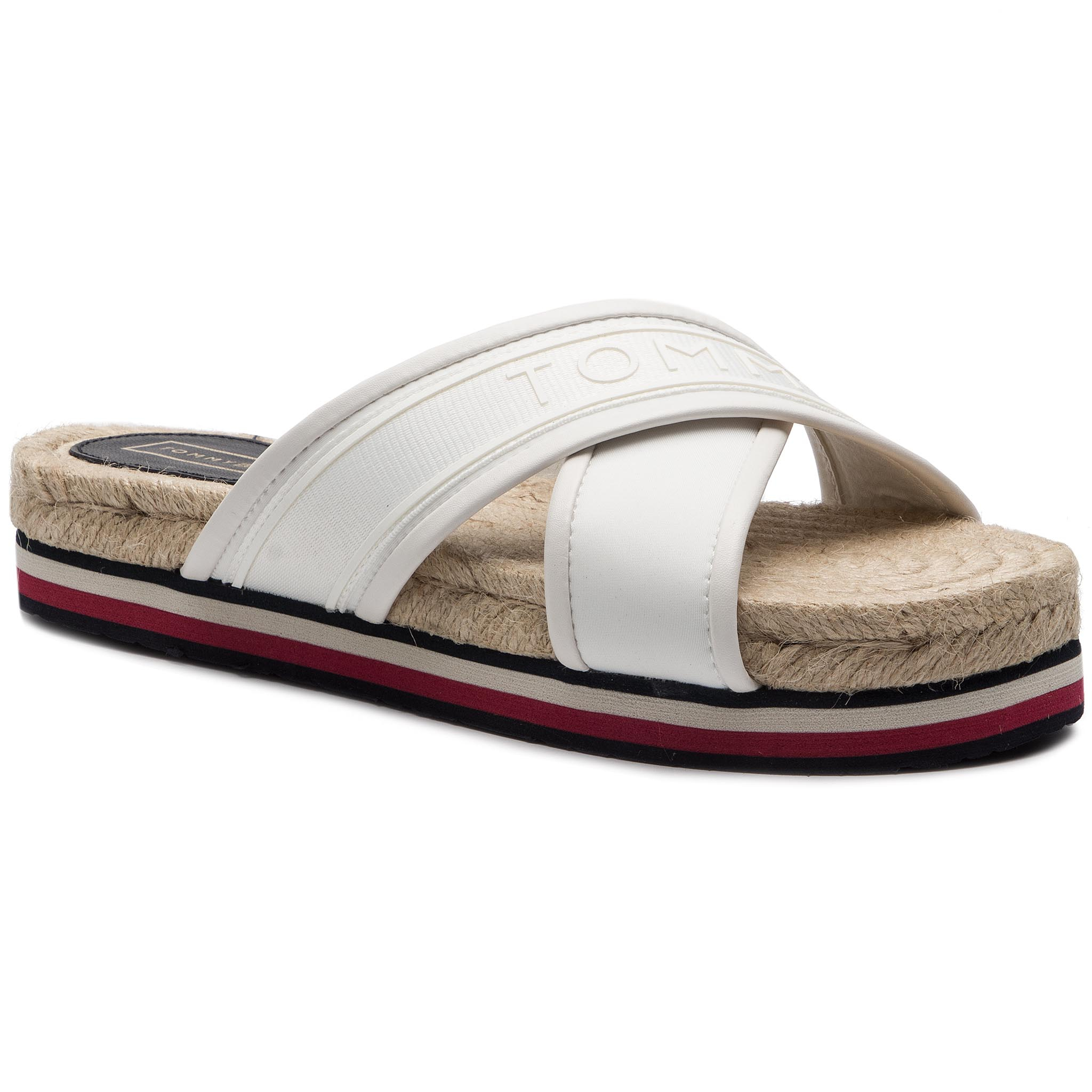 Espadrile TOMMY HILFIGER - Colorful Tommy Flat Sandal FW0FW04159 Whisper White 121
