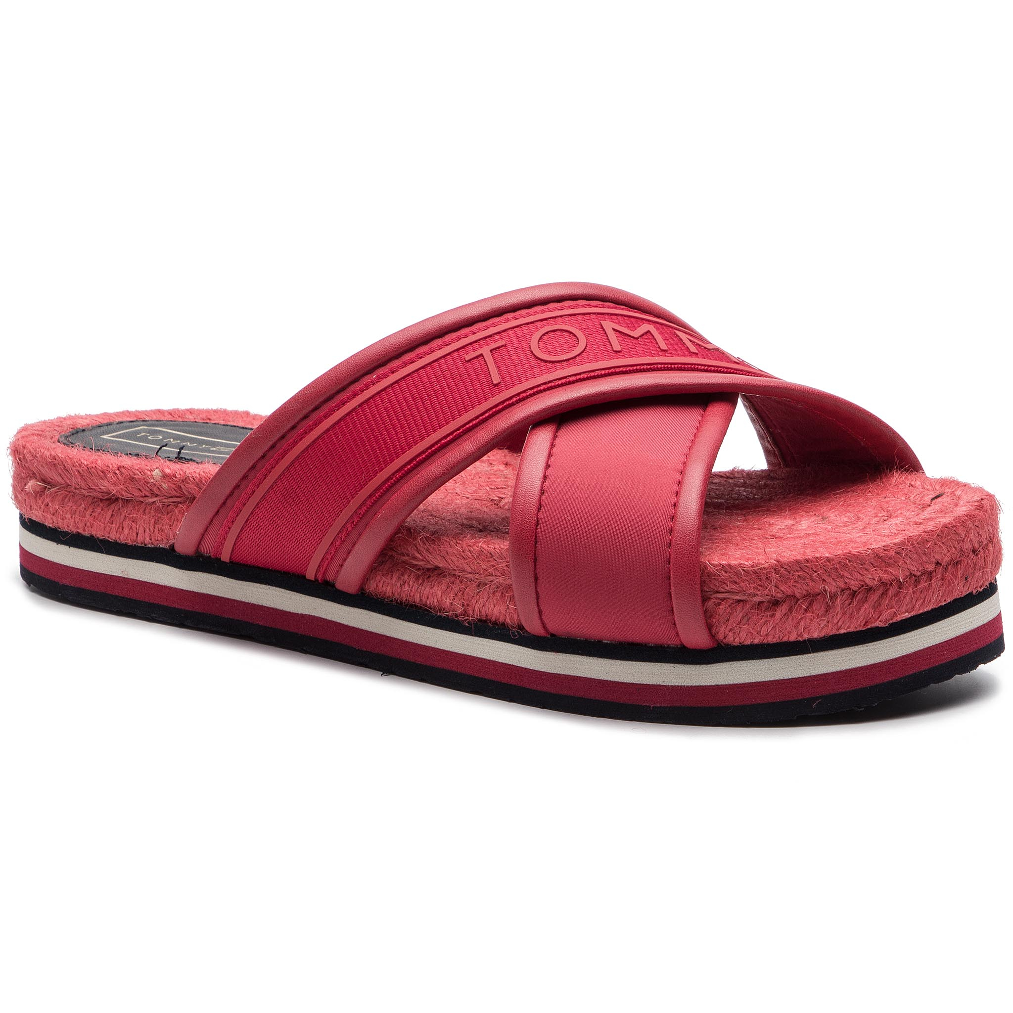Espadrile TOMMY HILFIGER - Colorful Tommy Flat Sandal FW0FW04159 True Red 665