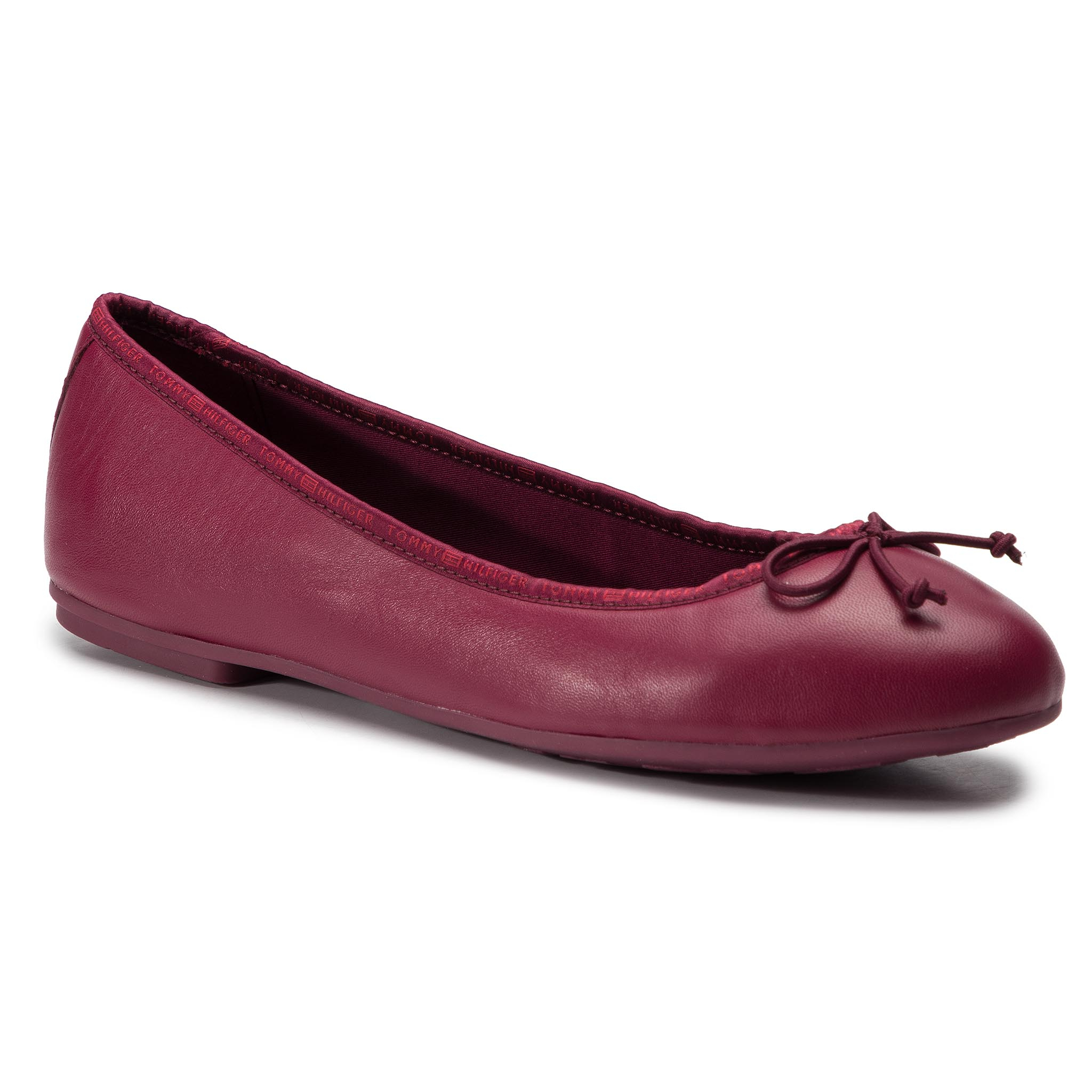 Balerini TOMMY HILFIGER - Leather Ballerina Tommy Branding FW0FW04439 Beet Red 522