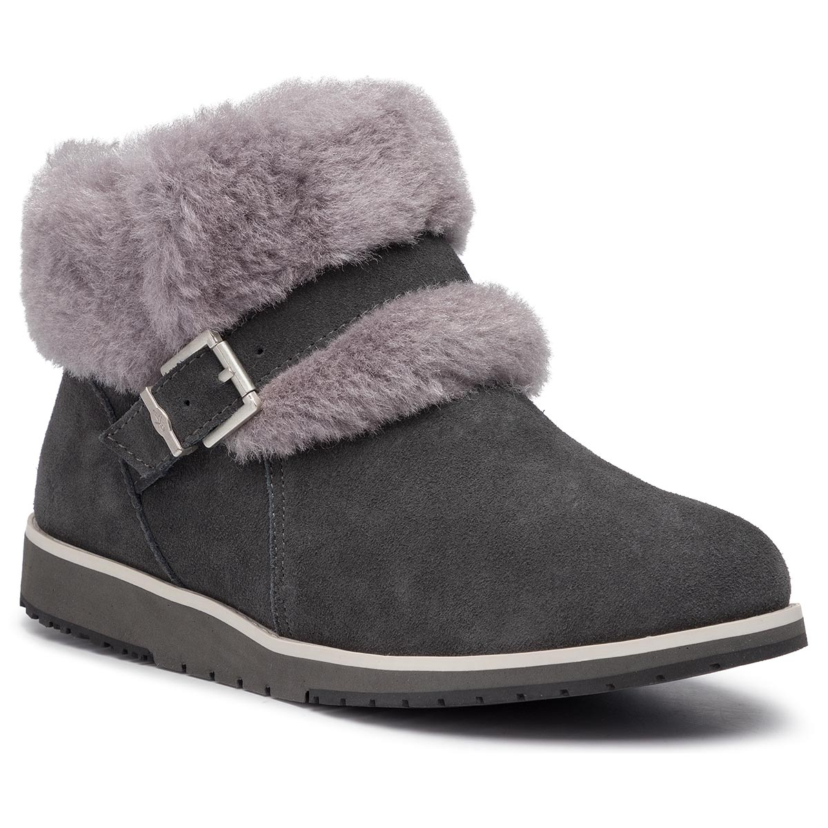 Pantofi EMU AUSTRALIA - Oxley Fur Cuff W11698 Dark Grey