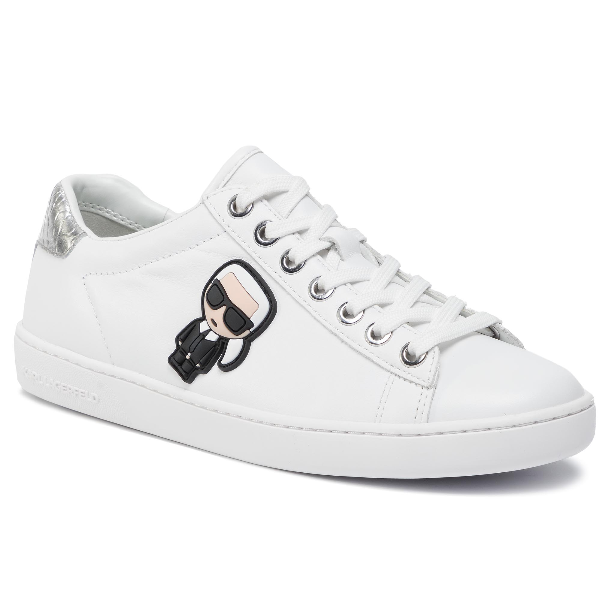 Sneakers KARL LAGERFELD - KL61230 White Lthr W/Silver