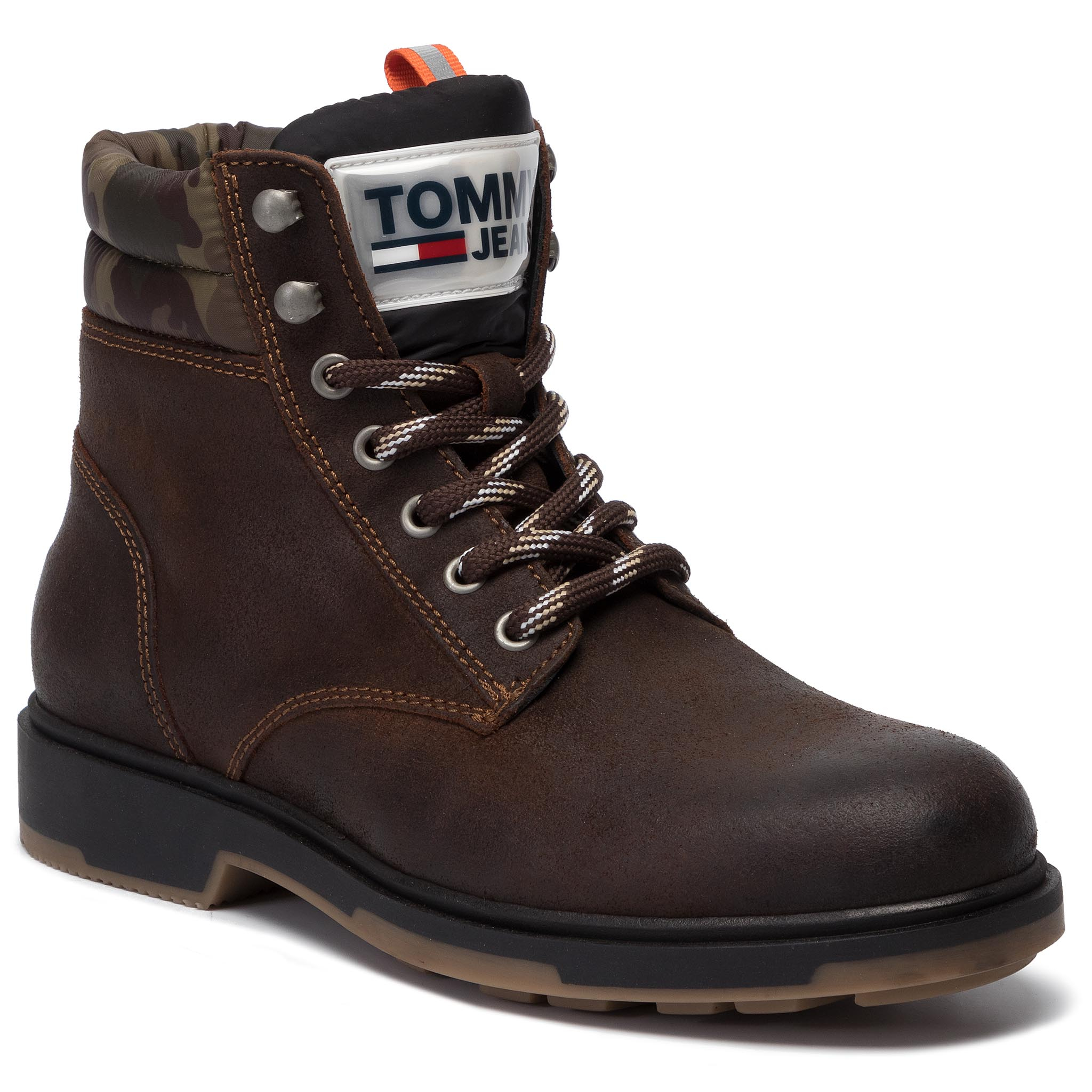 Trappers TOMMY JEANS - Casual Suede Boot EM0EM00315 Winter Cognac 906