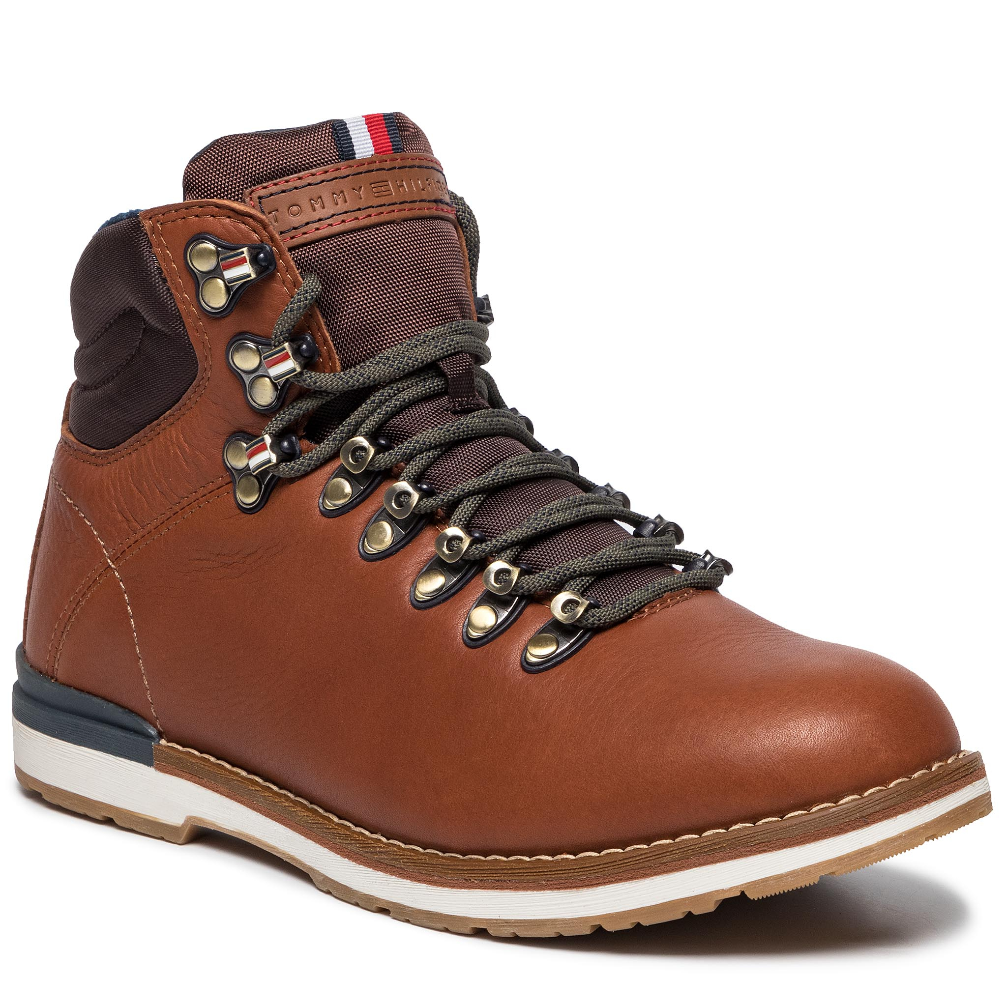 Trappers TOMMY HILFIGER - Outdoor Hiking Lace Leather Bott FM0FM02416 Brandy 601