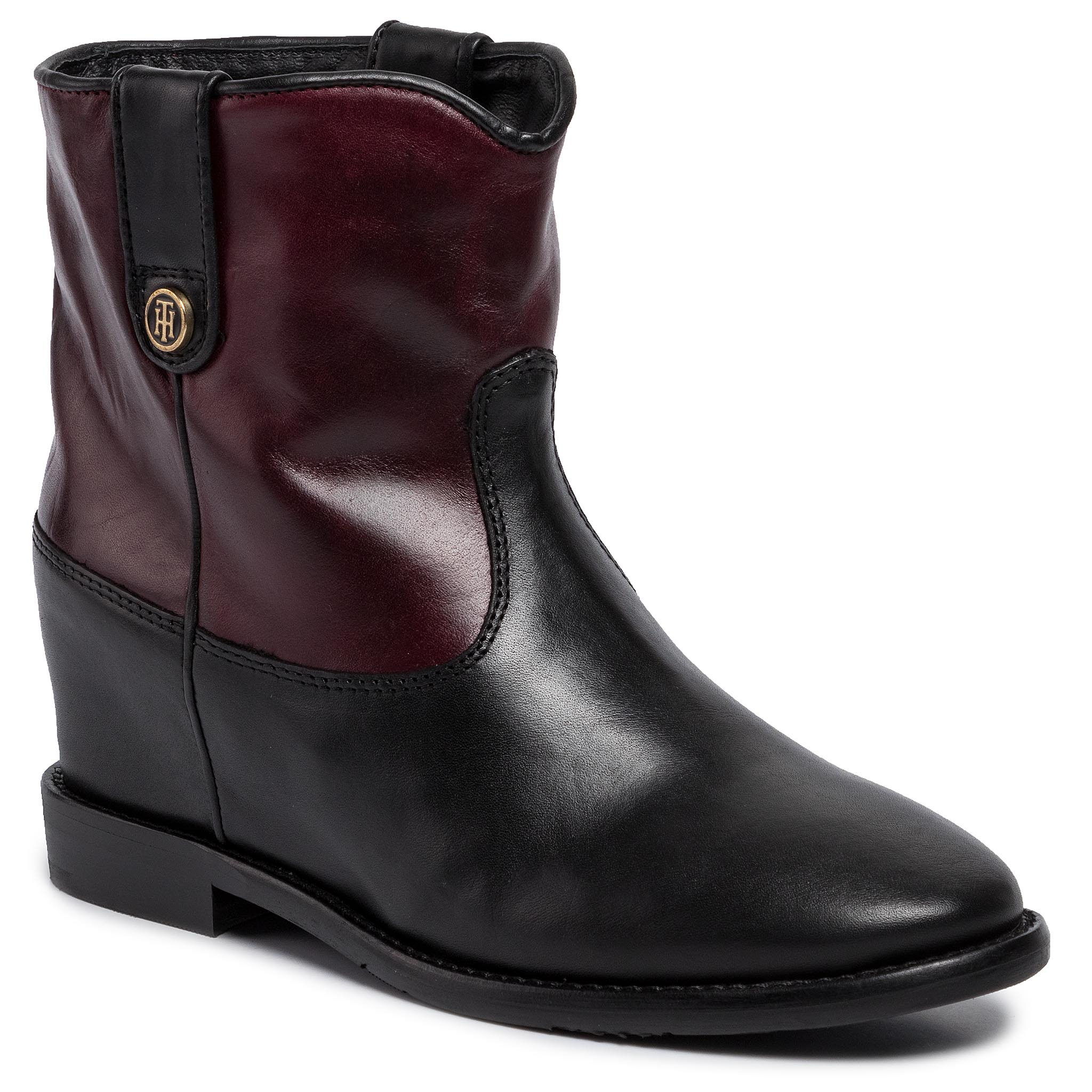 Botine TOMMY HILFIGER - Color Block Wedge Bootie FW0FW04431 Chocolate Truffle 299
