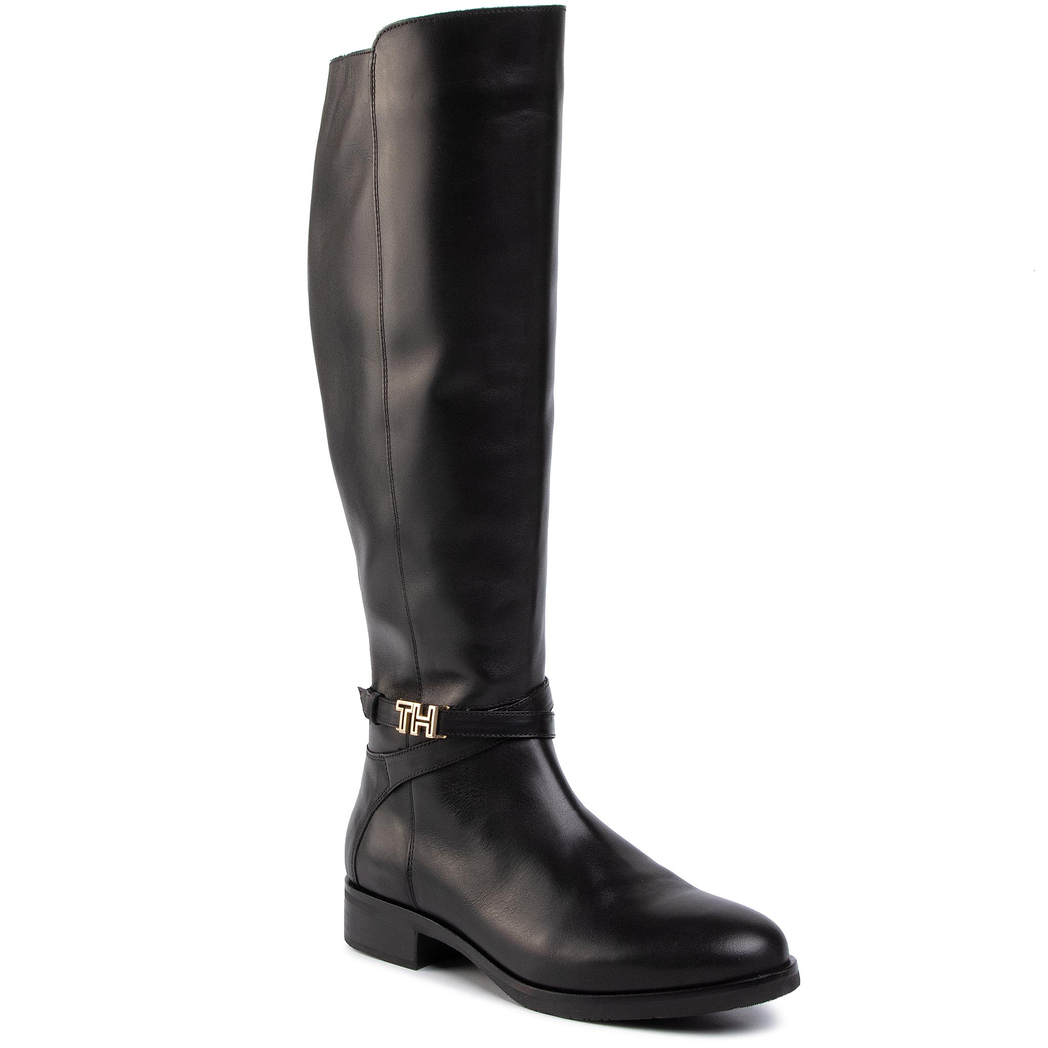 Cizme lungi riding TOMMY HILFIGER - Th Hardware Leather Longboot FW0FW04283 Black 990