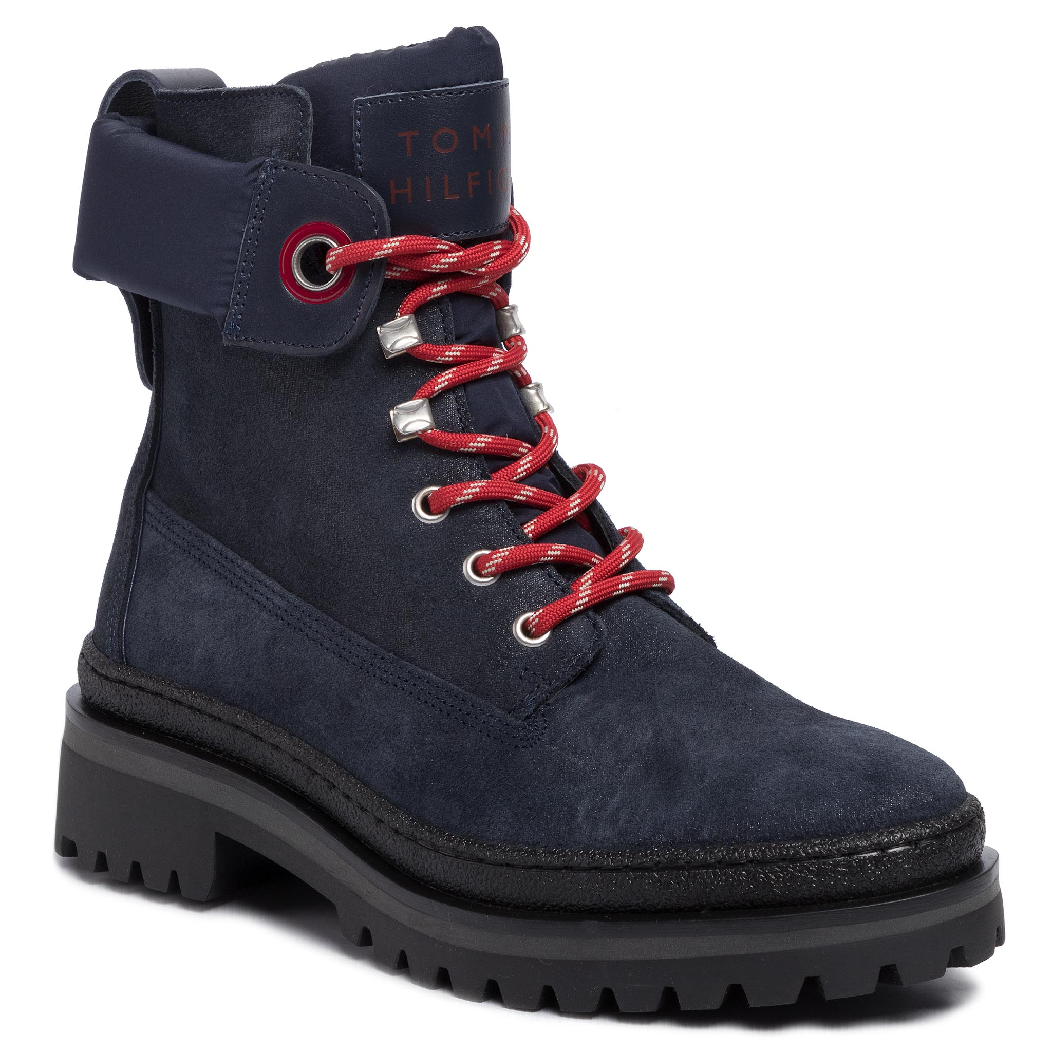 Trappers Tommy Hilfiger - Sporty Outdoor Lace Up Bootie Fw0fw04343 Navy Blazer Chs imagine epantofi.ro