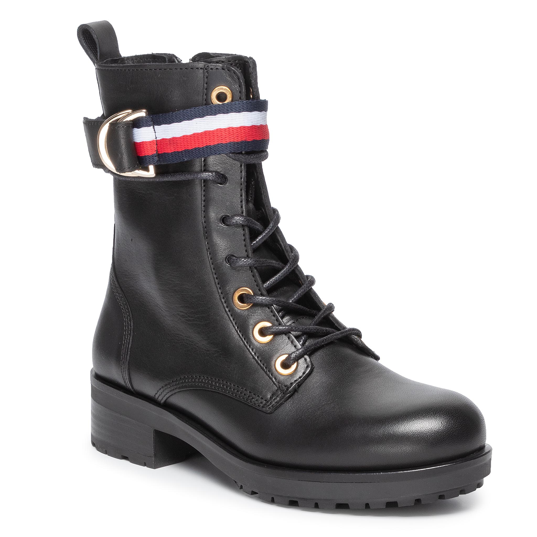 Botine TOMMY HILFIGER - Corporate Ribbon Bikeboot FW0FW04326 Black 990