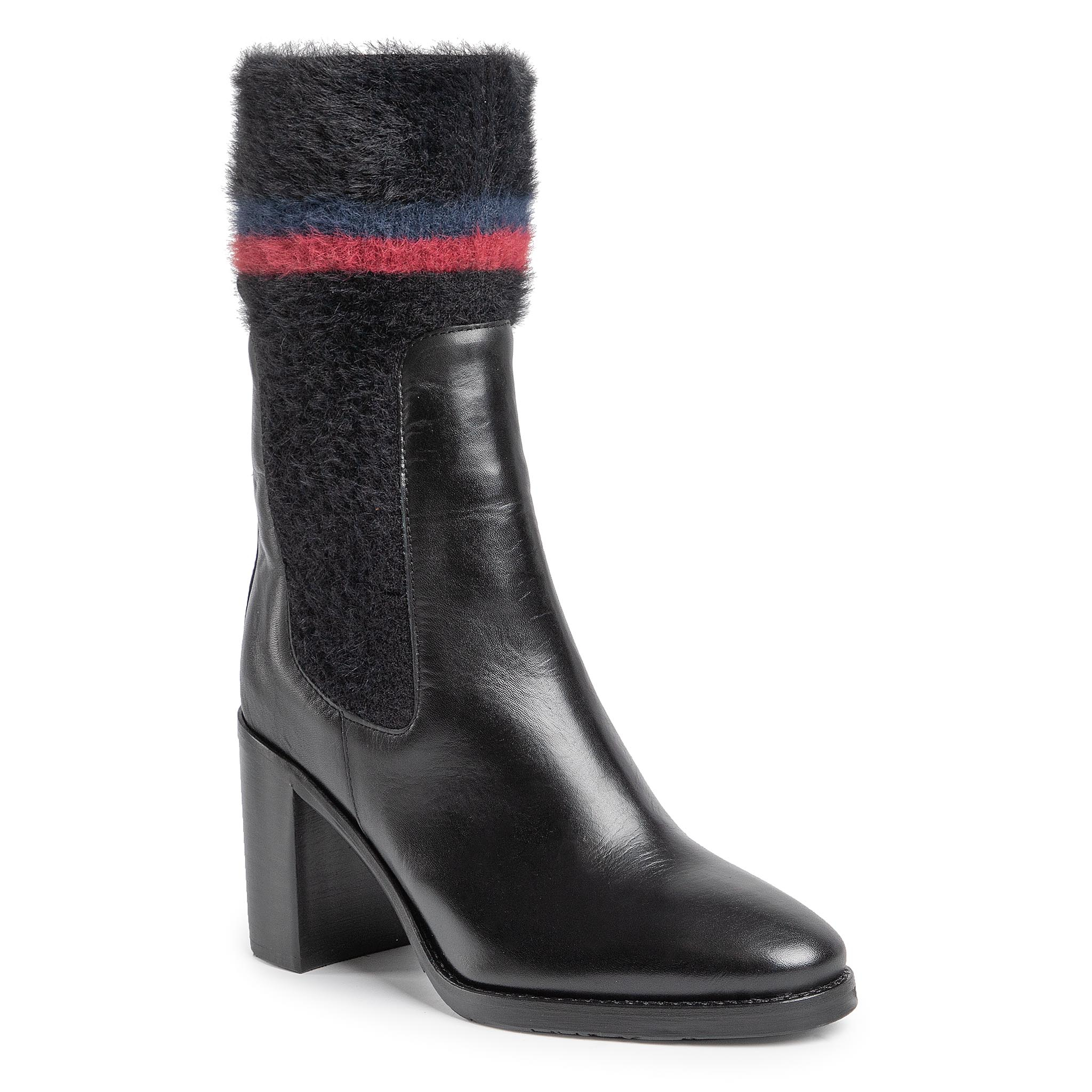 Botine TOMMY HILFIGER - Cosy High Heel Leather Bootie FW0FW04348 Black 990