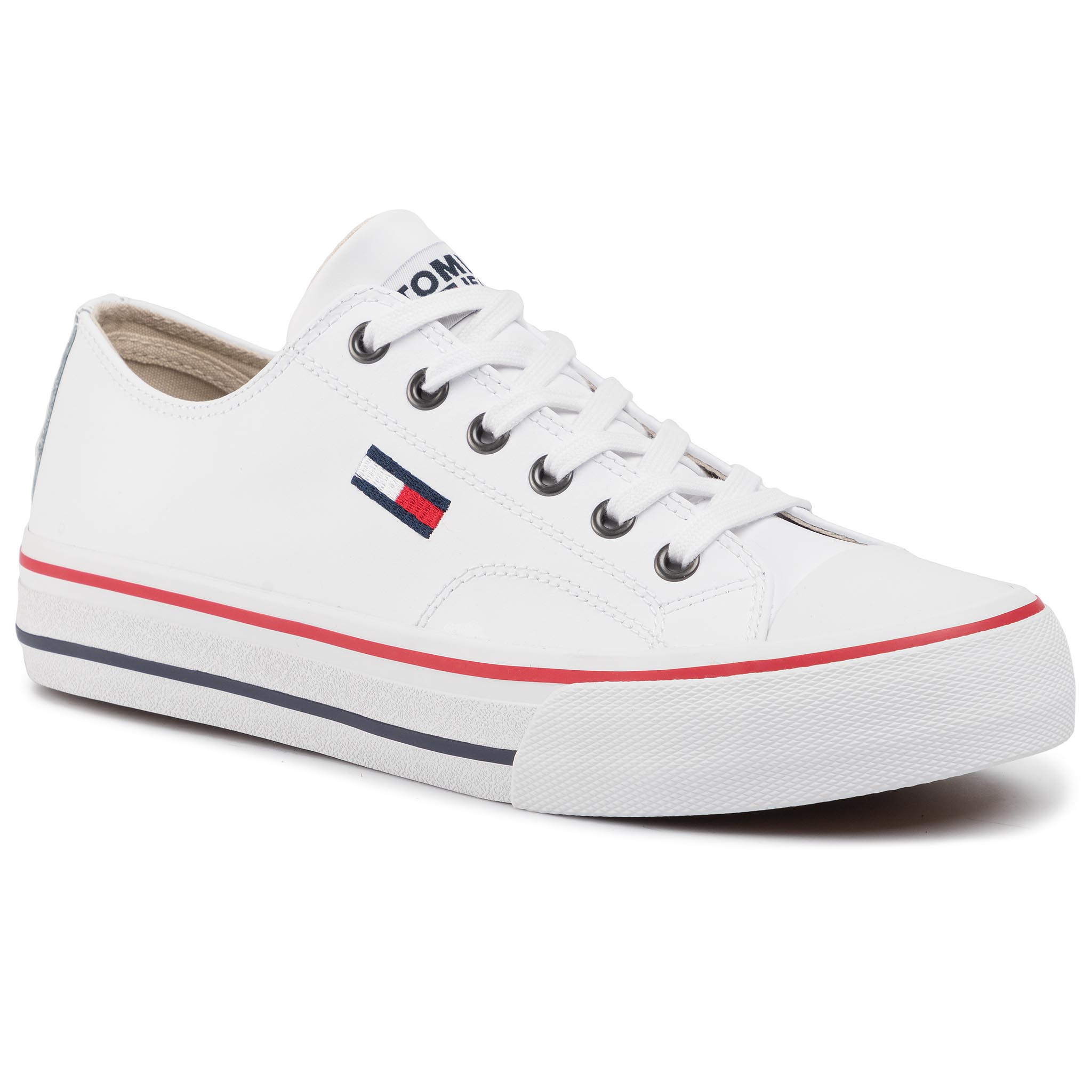 Teniși TOMMY JEANS - Leather City Sneaker EM0EM00394 White Ybs