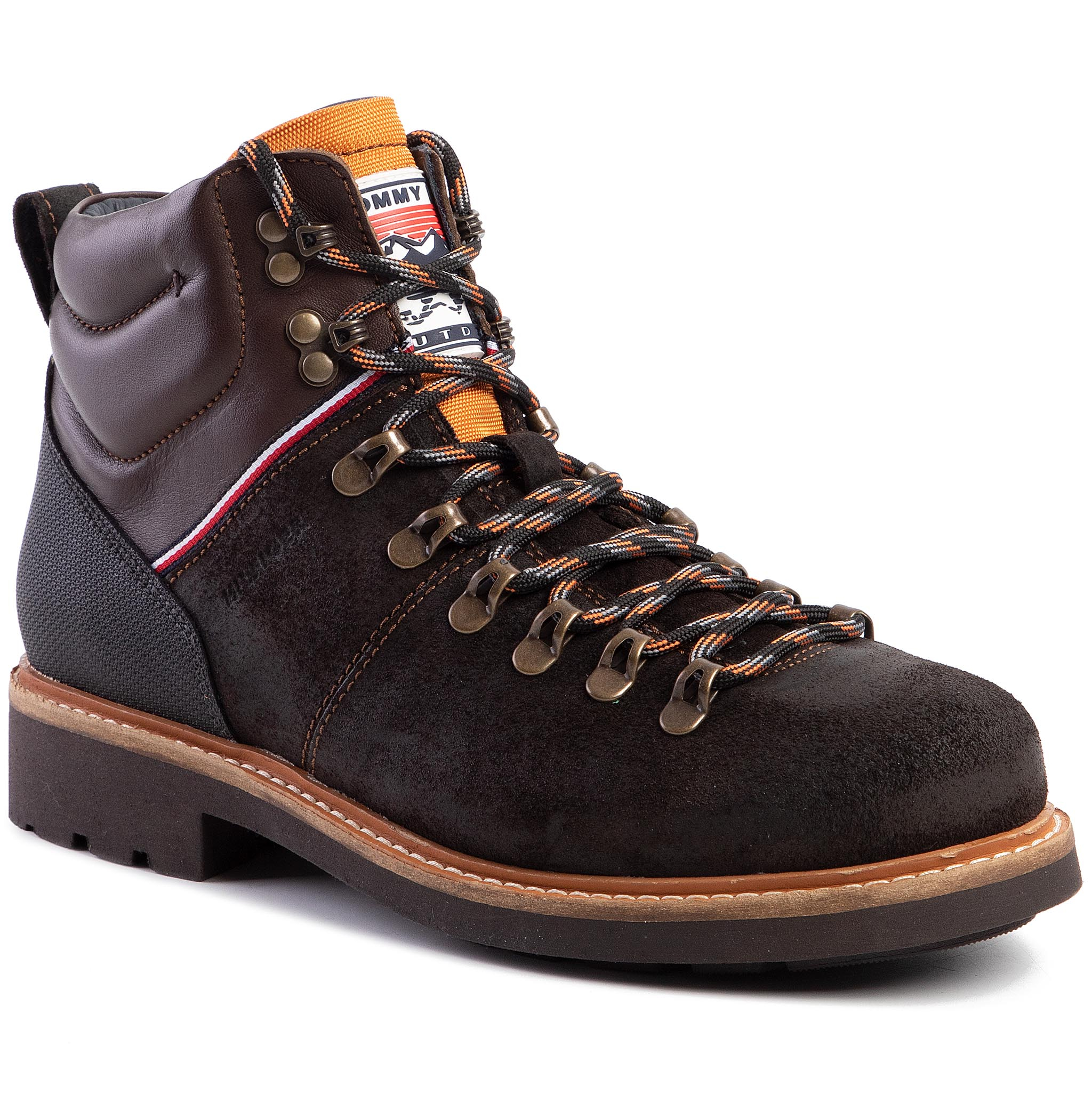 Cizme TOMMY HILFIGER - Suede Material Mix Hiking Boot FM0FM02589 Chocolate HJT
