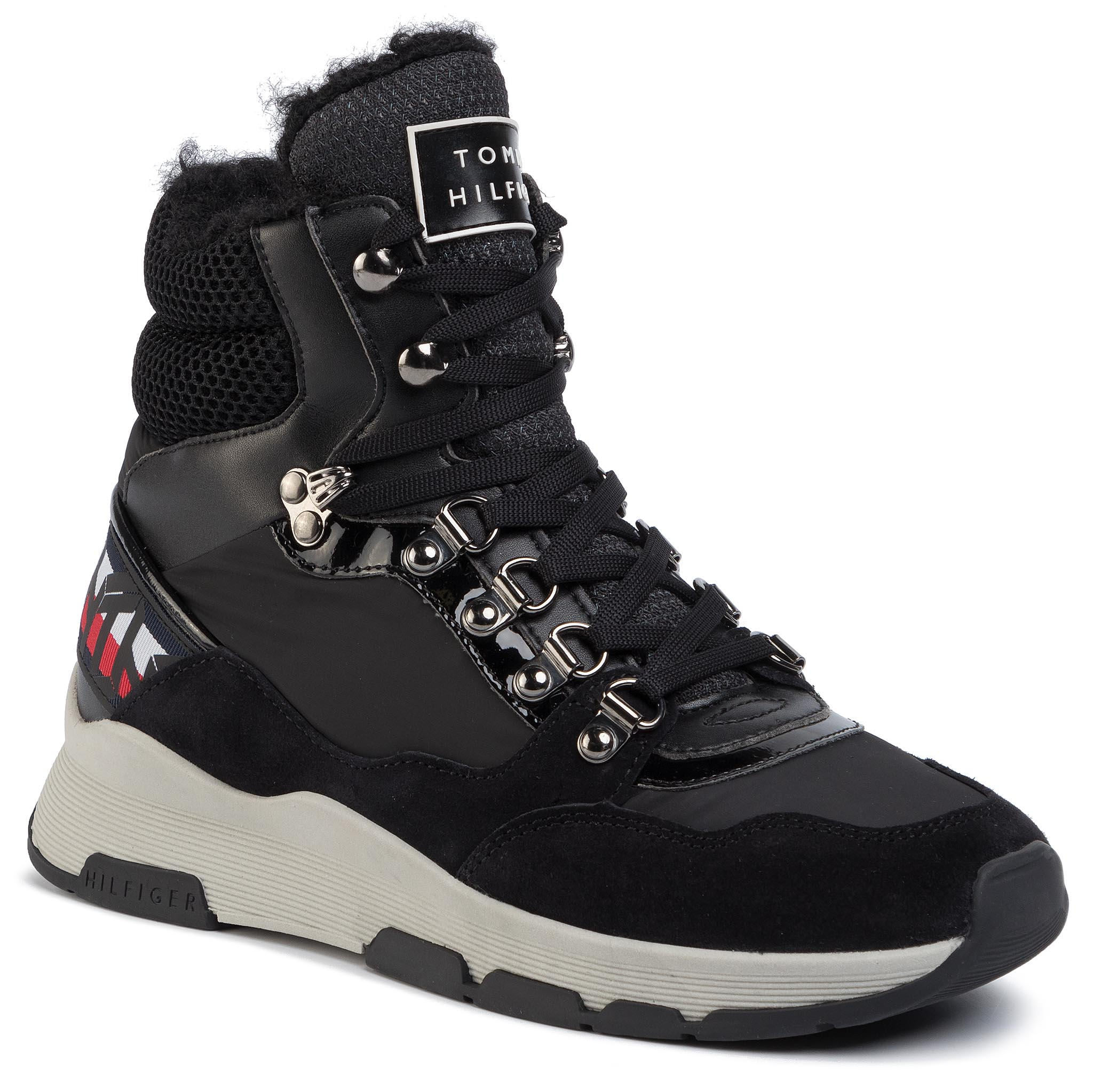 Sneakers TOMMY HILFIGER - Patent Fashion Sporty Boot FW0FW04593 Black BDS