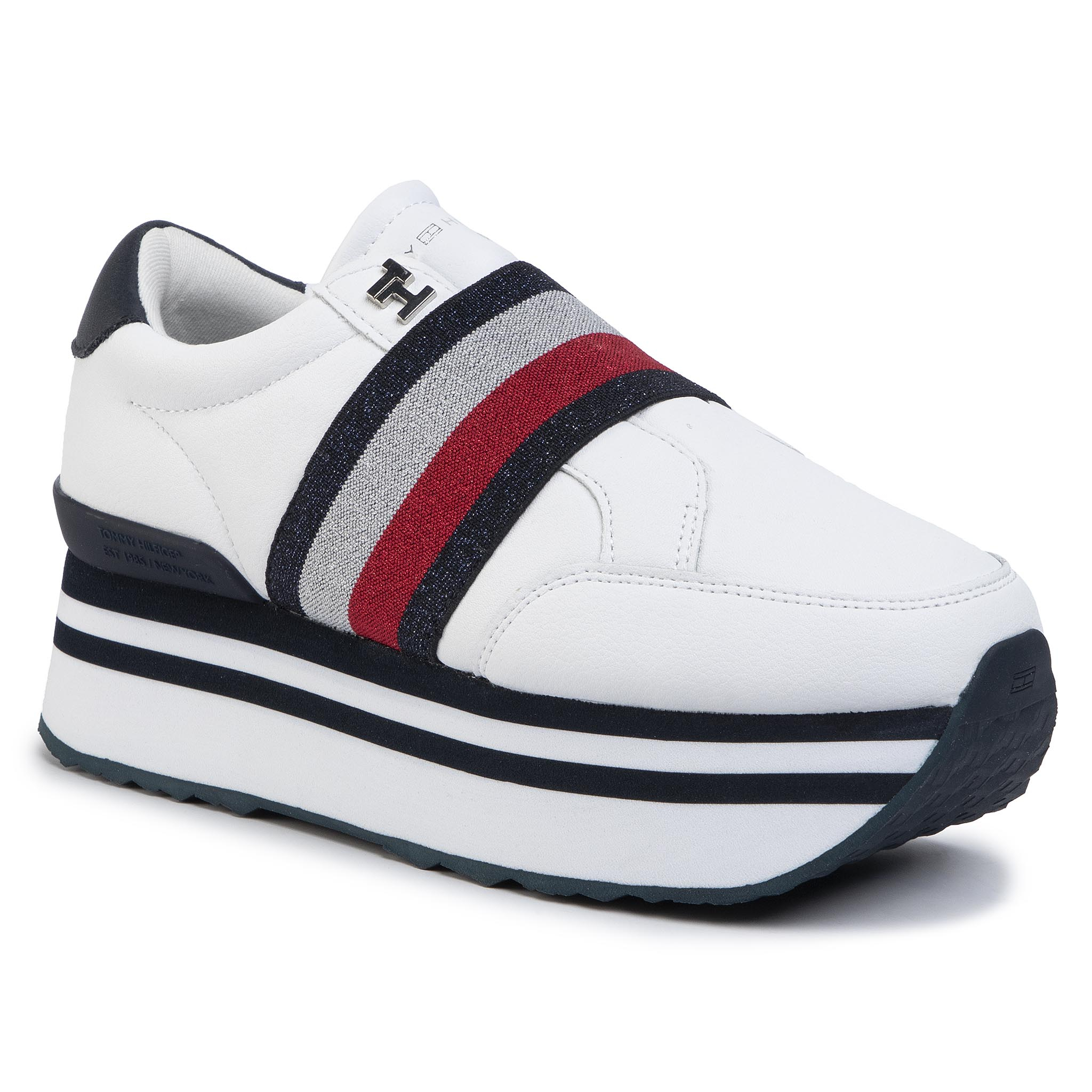 Sneakers TOMMY HILFIGER - Elastic Slip On Fatform Sneaker FW0FW04603 White YBS