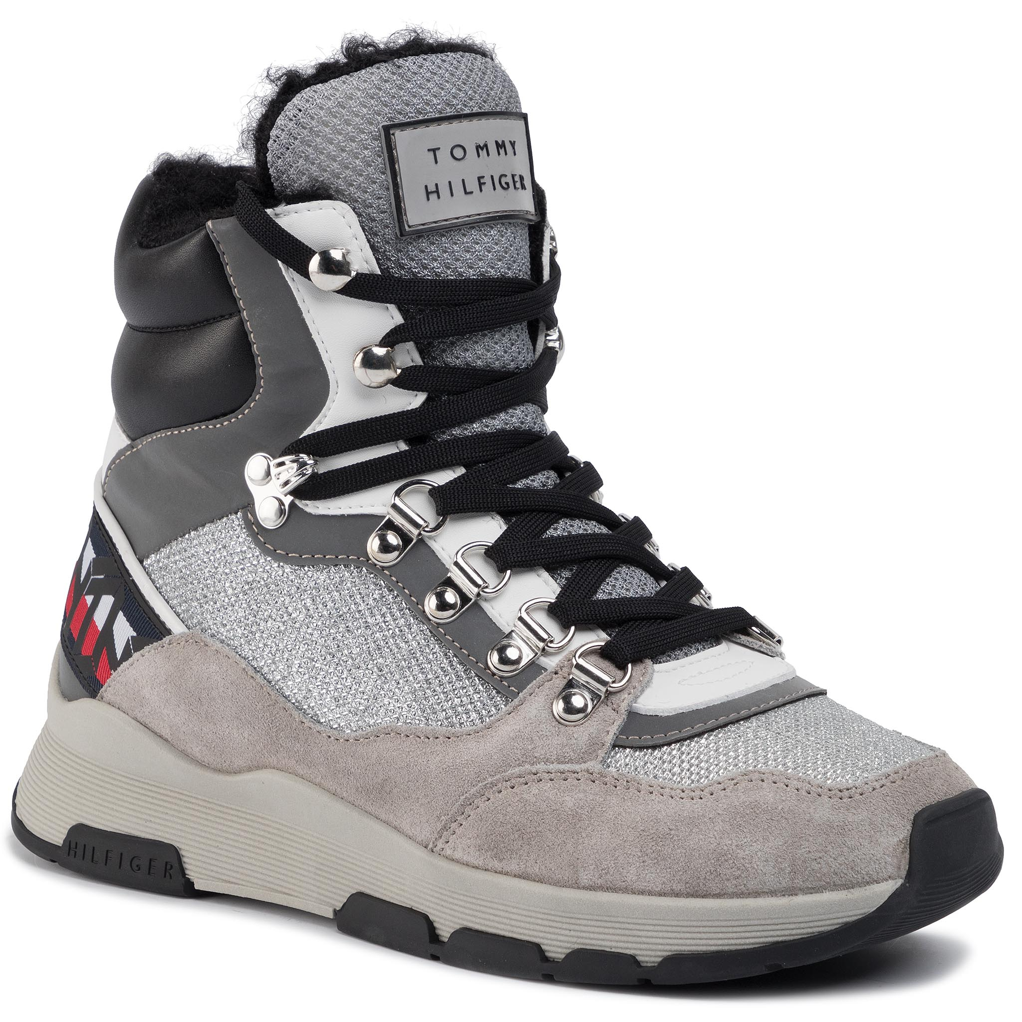 Sneakers TOMMY HILFIGER - Tommy Sparkle Sporty Boot FW0FW04635 Metallic Silver 0K4