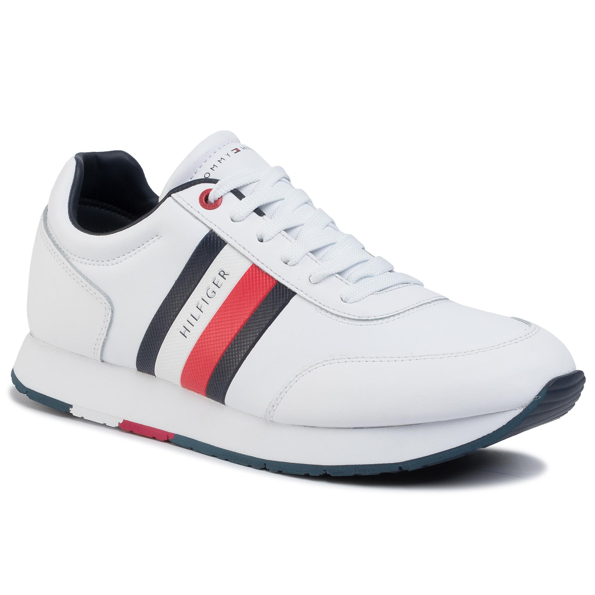 Sneakers TOMMY HILFIGER - Corporate Leather Flag Runner FM0FM02651 White YBS