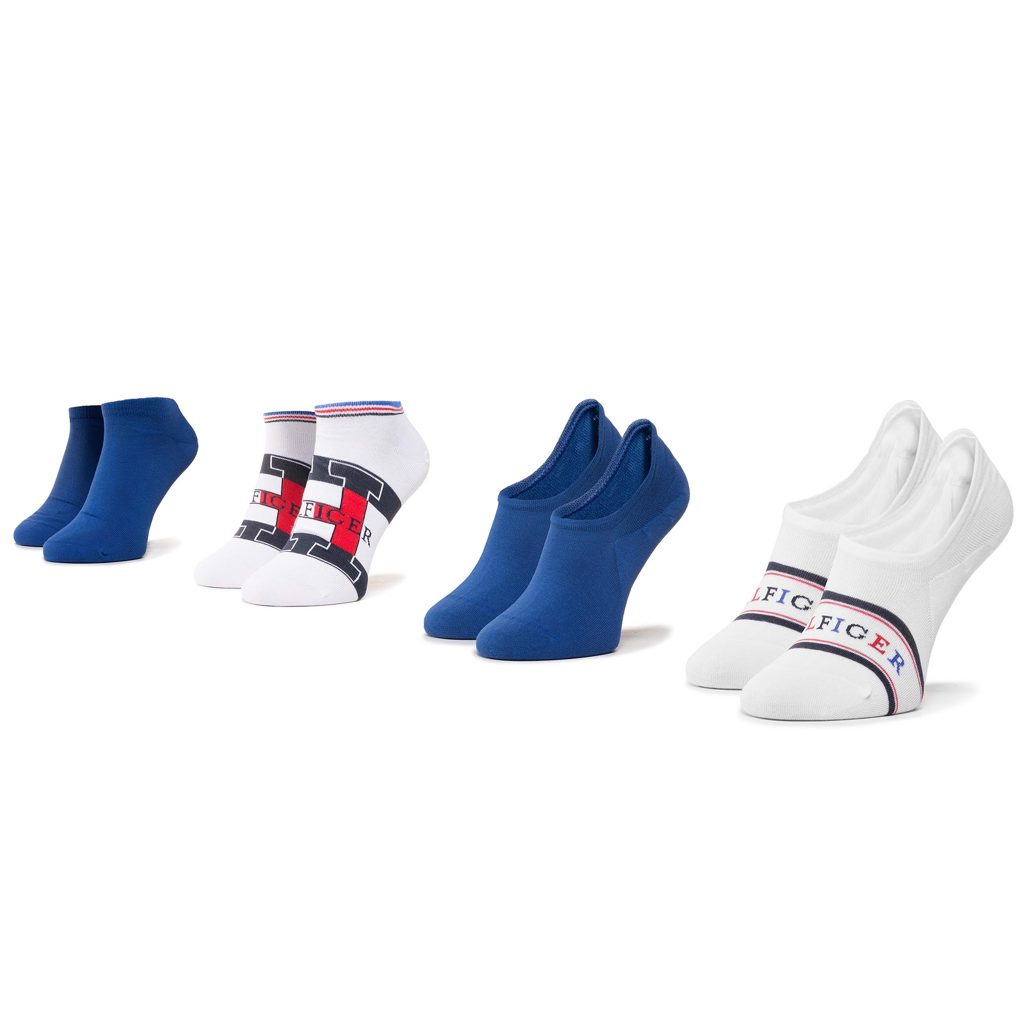 Set De 4 Perechi De Șosete Medii Unisex Tommy Hilfiger - 320202001 Surf The Web/Black Iris 027 imagine