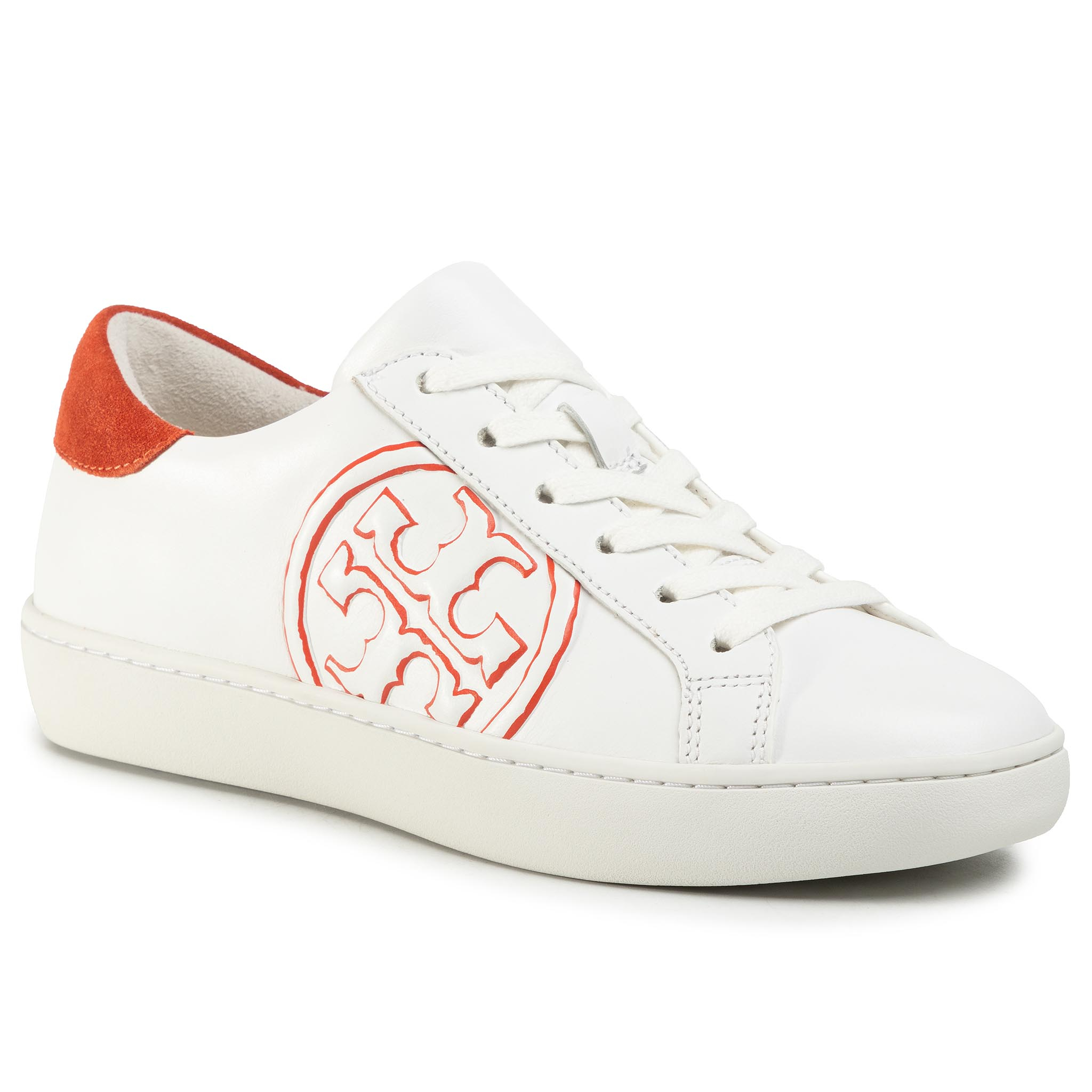 Sneakers TORY BURCH - T-Logo Sneaker 60847 Snow White/Canyon Orange 103