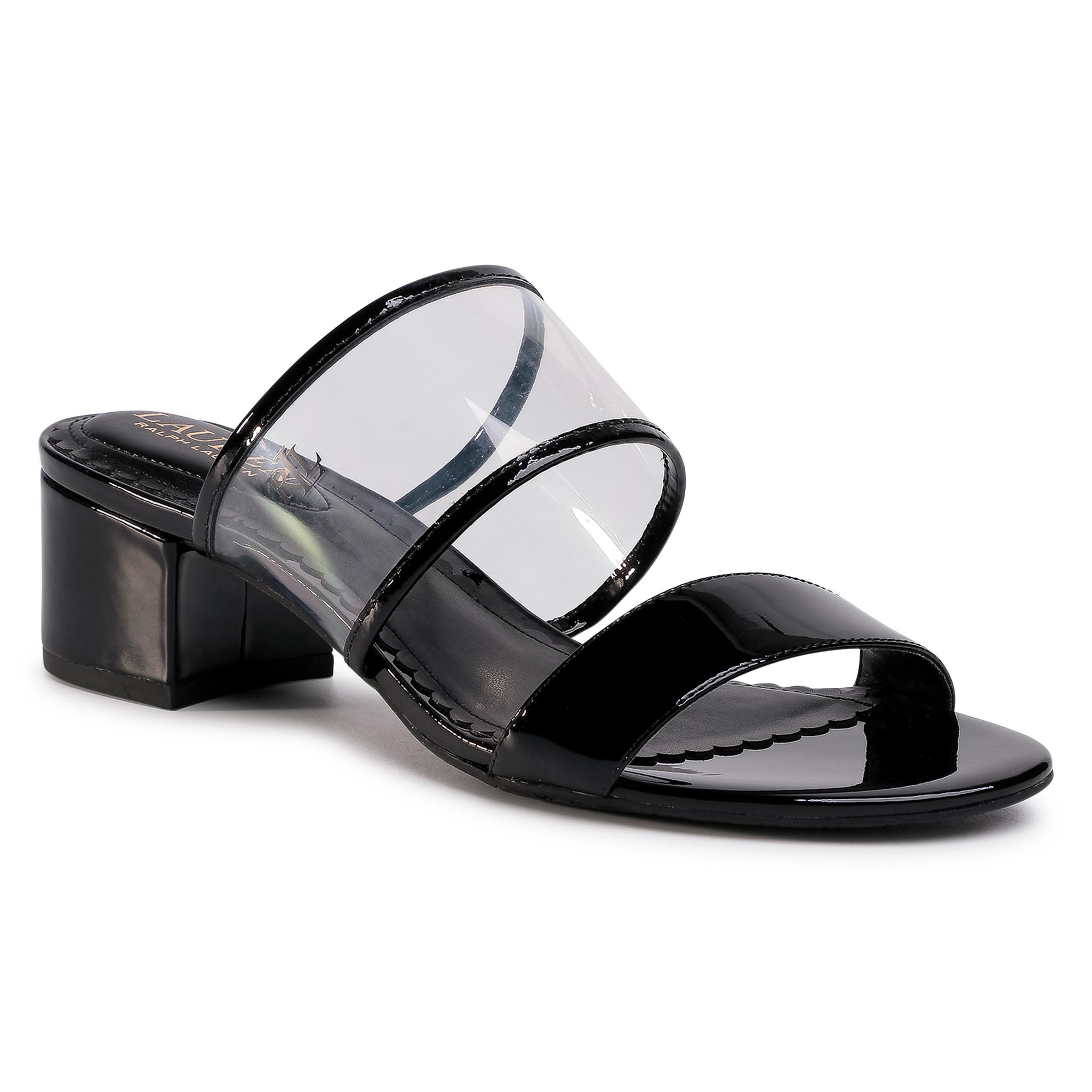 Șlapi Lauren Ralph Lauren - Whitni 802784394001 Clear/Blk imagine epantofi.ro 2021