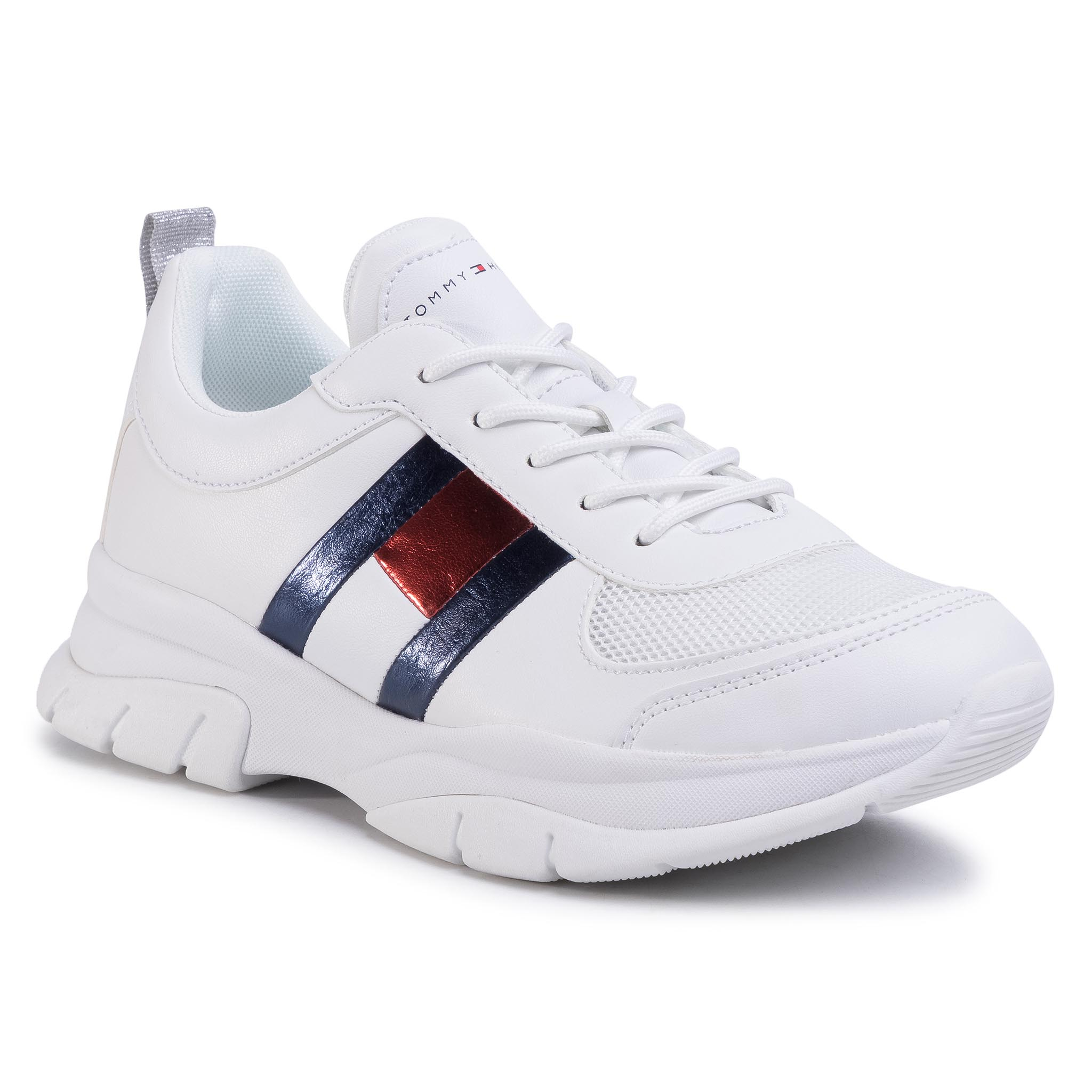 Sneakers TOMMY HILFIGER - Low Cut Lace-Up Sneaker T3A4-30633-0968 D White 100