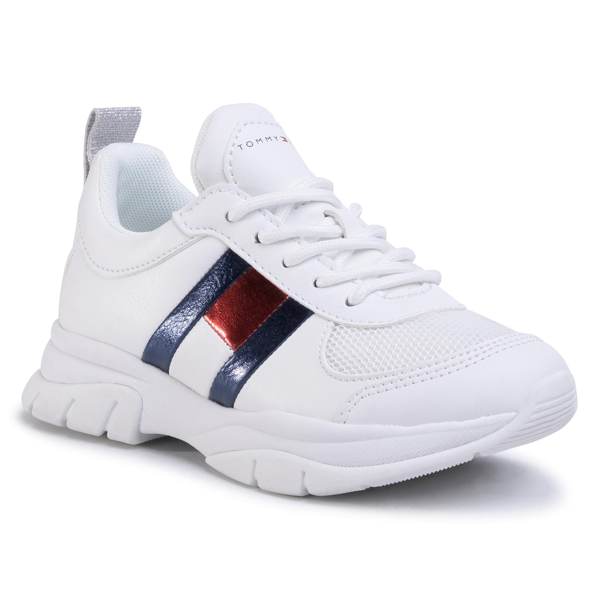 Sneakers TOMMY HILFIGER - Low Cut Lace-Up Sneaker T3A4-30633-0968 M White 100