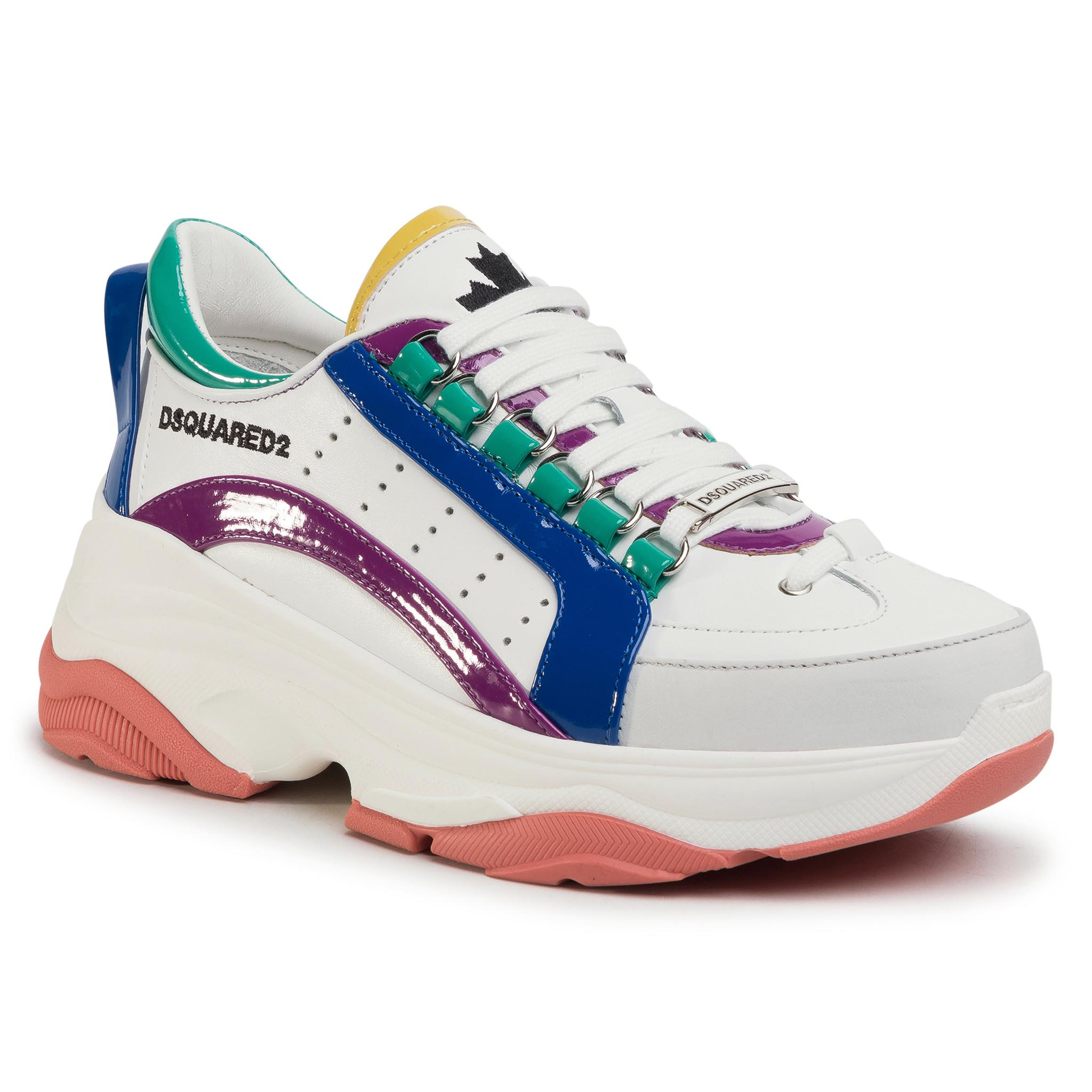 Sneakers DSQUARED2 - Lace-Up Low Top Sneakers SNW0091 01501654 M1826 Bianco/Viola/Blu