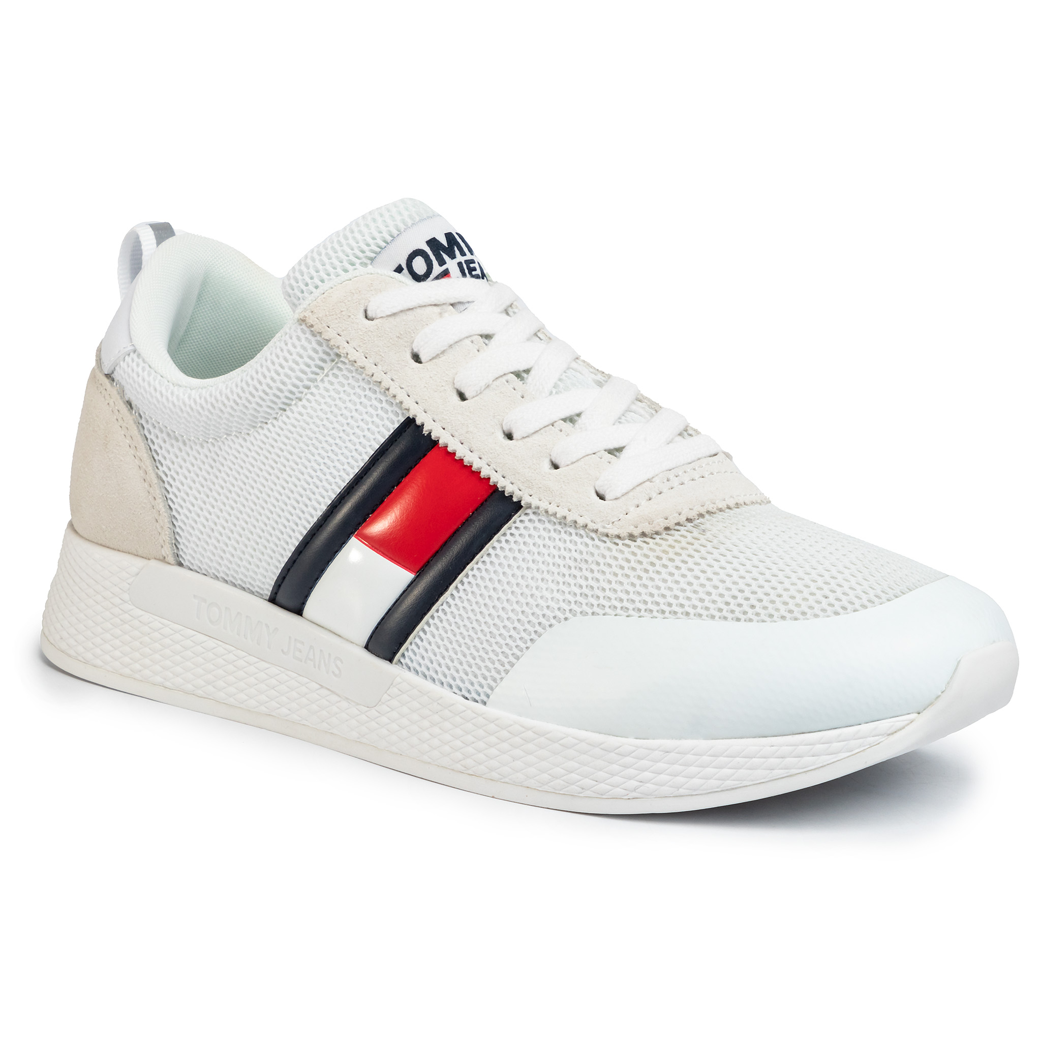 Sneakers Tommy Jeans - Flexi Tommy Jeans Flag Sneaker Em0em00400 White Ybs imagine epantofi.ro