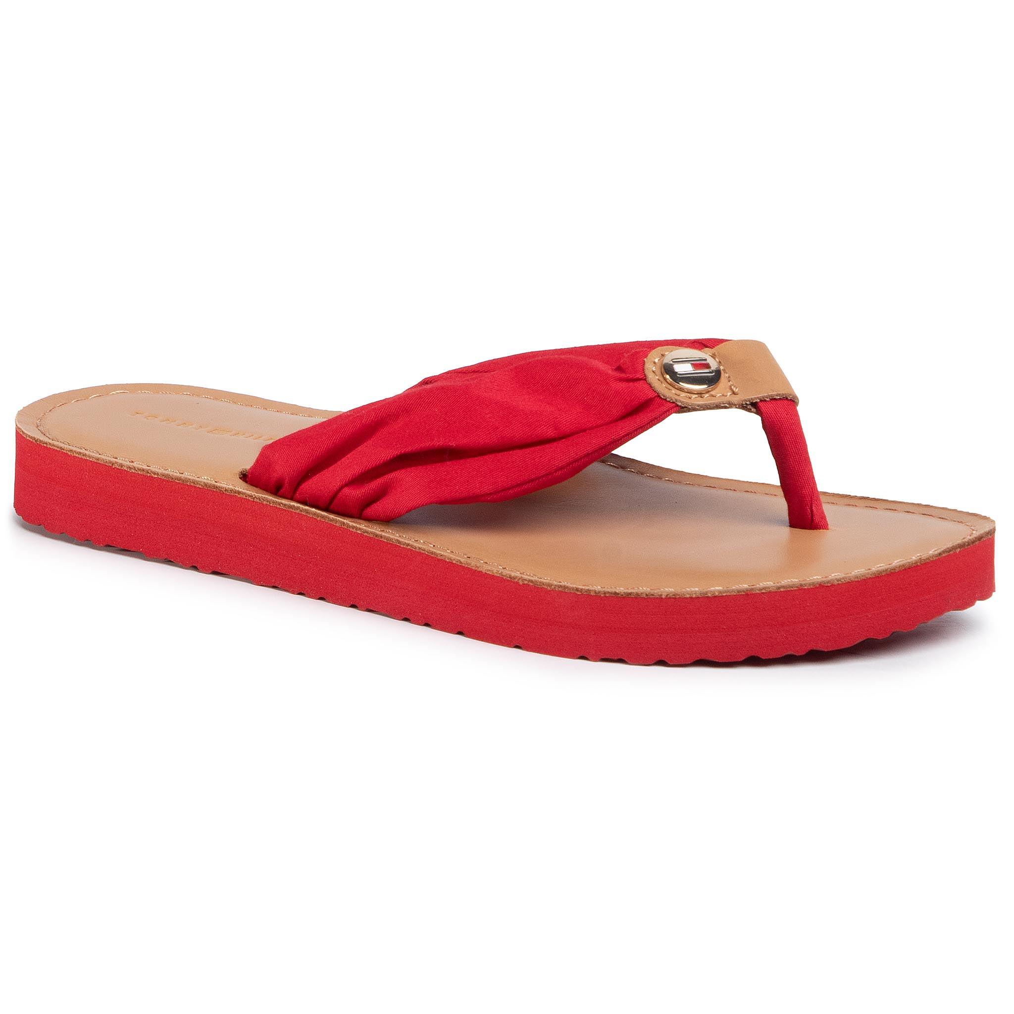 Flip flop TOMMY HILFIGER - Leather Footbed Beach Sandal FW0FW00475 Primary Red XLG