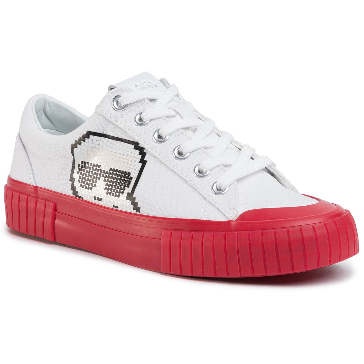Sneakers KARL LAGERFELD - KL60213 White Canvas W/Red