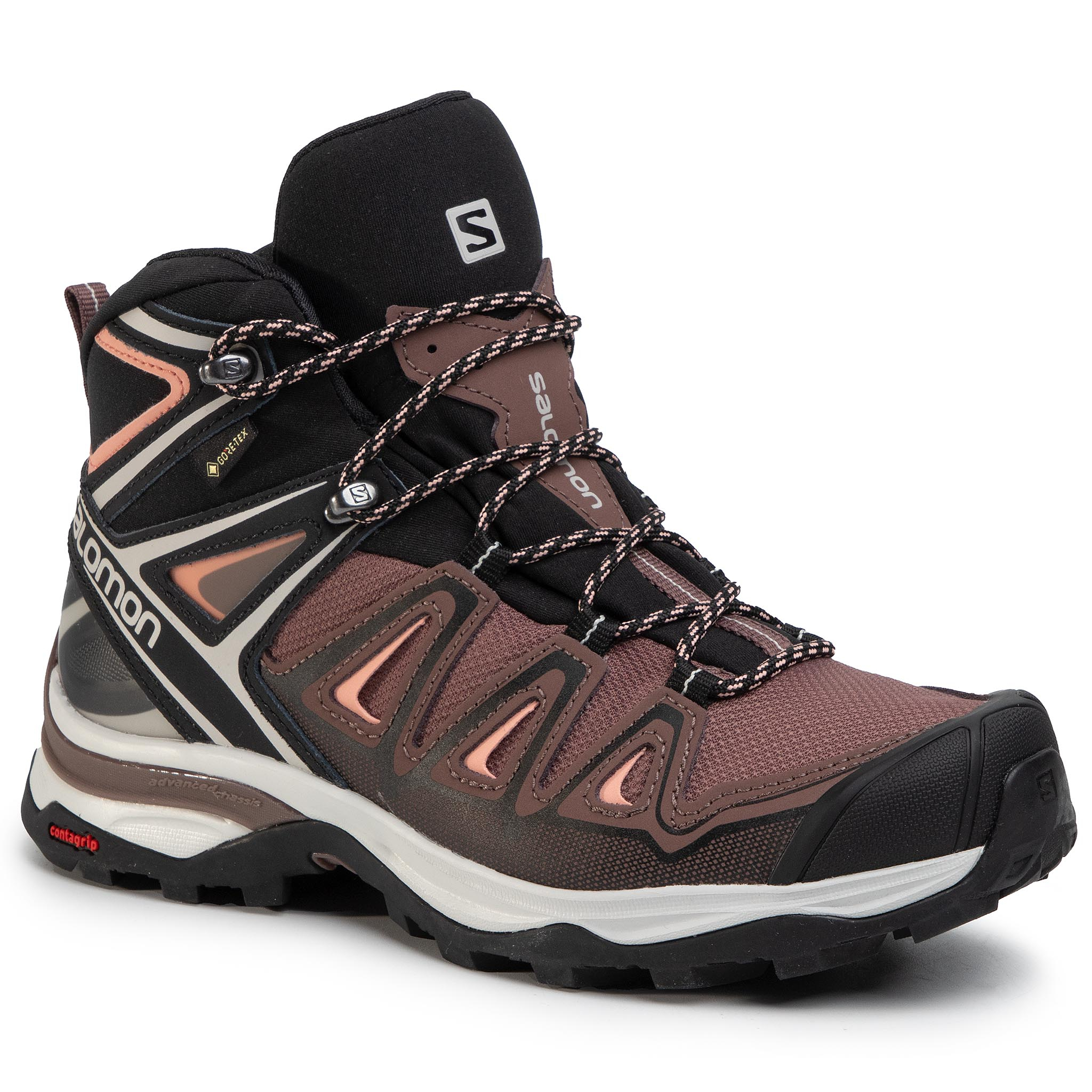 Trekkings Salomon - X Ultra 3 Mid Gtx W Gore-Tex 408144 25 W0 Peppercorn/Black/Coral Aimond imagine epantofi.ro 2021