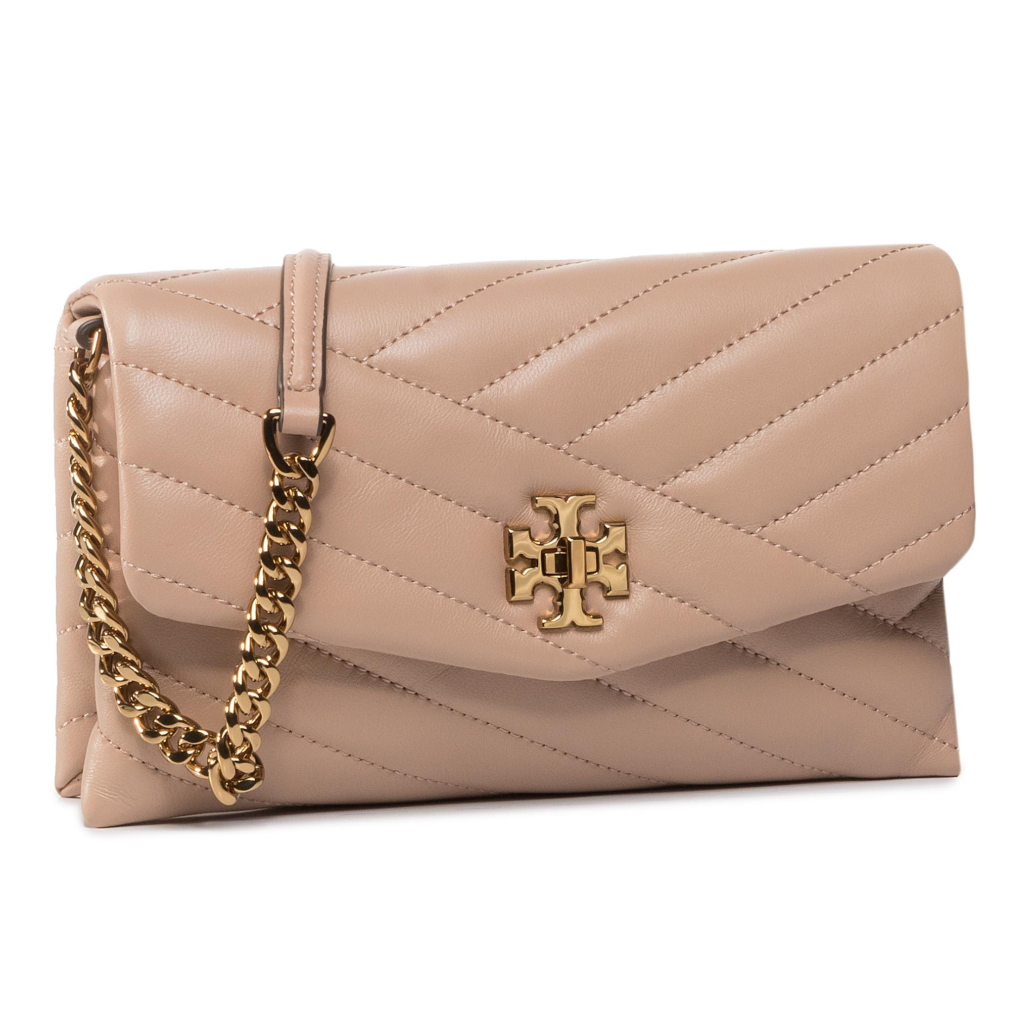 Geantă TORY BURCH - Kira Chevron Chain Wallet 64068 Devon Sand 288