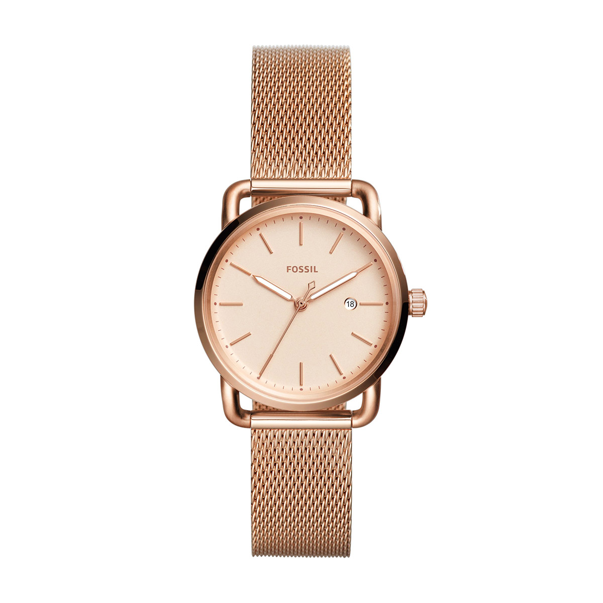 Ceas FOSSIL - The Commuter 3H Date ES4333 Rose Gold/Rose Gold