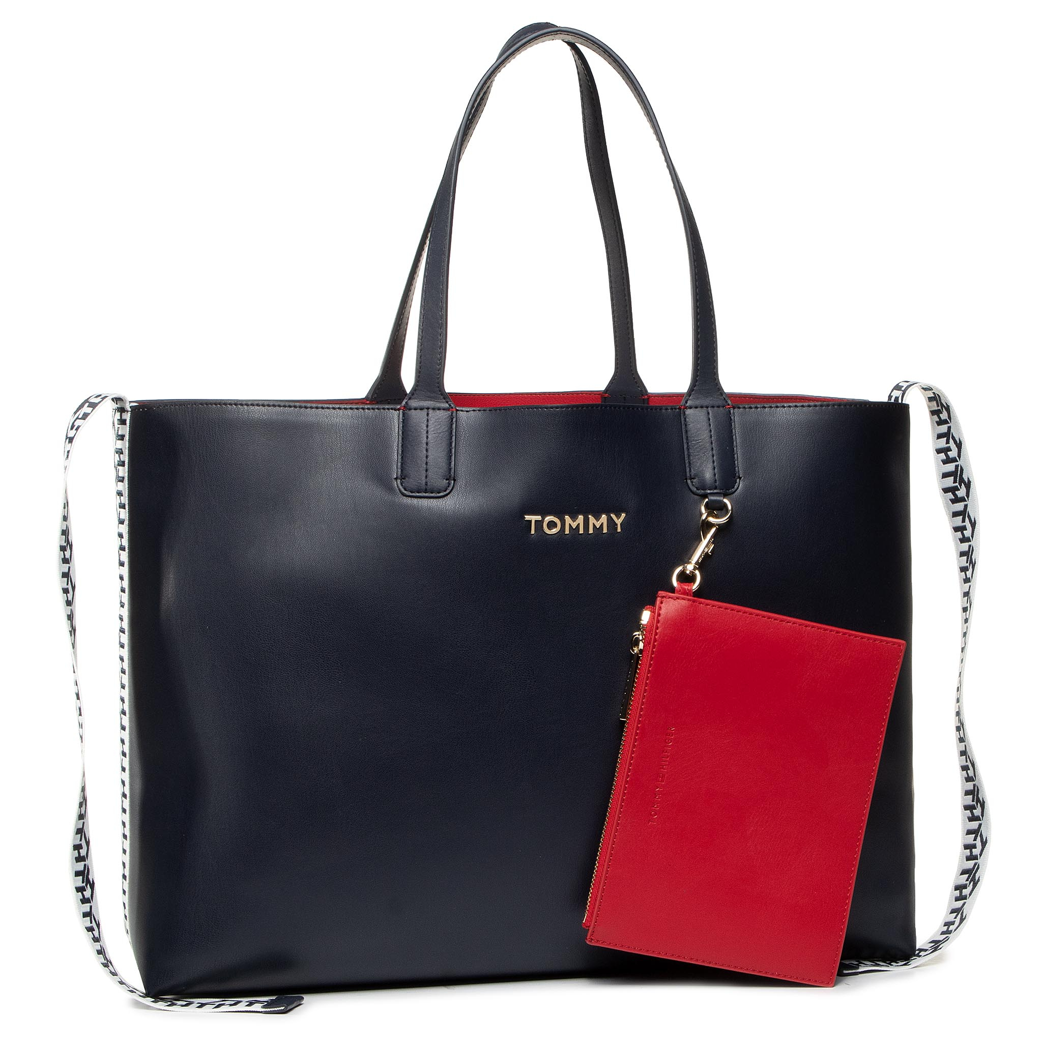 Geantă TOMMY HILFIGER - Iconic Tommy Tote AW0AW07948 BLU