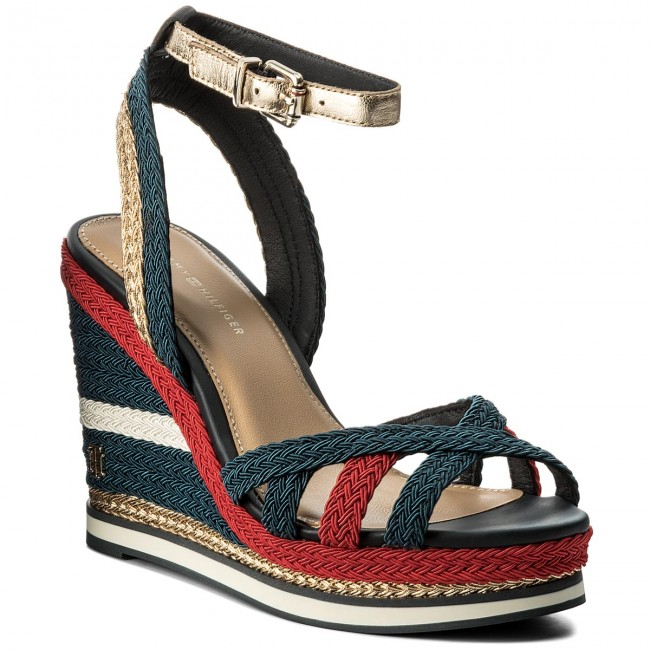928606cd0b11 Sandale TOMMY HILFIGER - Corporate Wedge Sandal Sporty FW0FW02396 Rbw 020