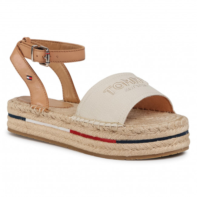 Espadrile TOMMY HILFIGER - Tropical Fade Opened Espadrille FW0FW04964 Ivory YBI