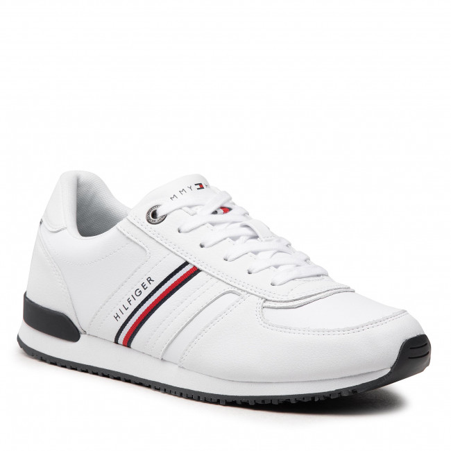 Sneakers TOMMY HILFIGER - Iconic Leather Runner Stripes FM0FM03923 White YBR