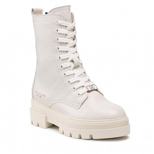 Trappers TOMMY HILFIGER - Monochromatic Lace Up Boot FW0FW05946 White Dove AF2